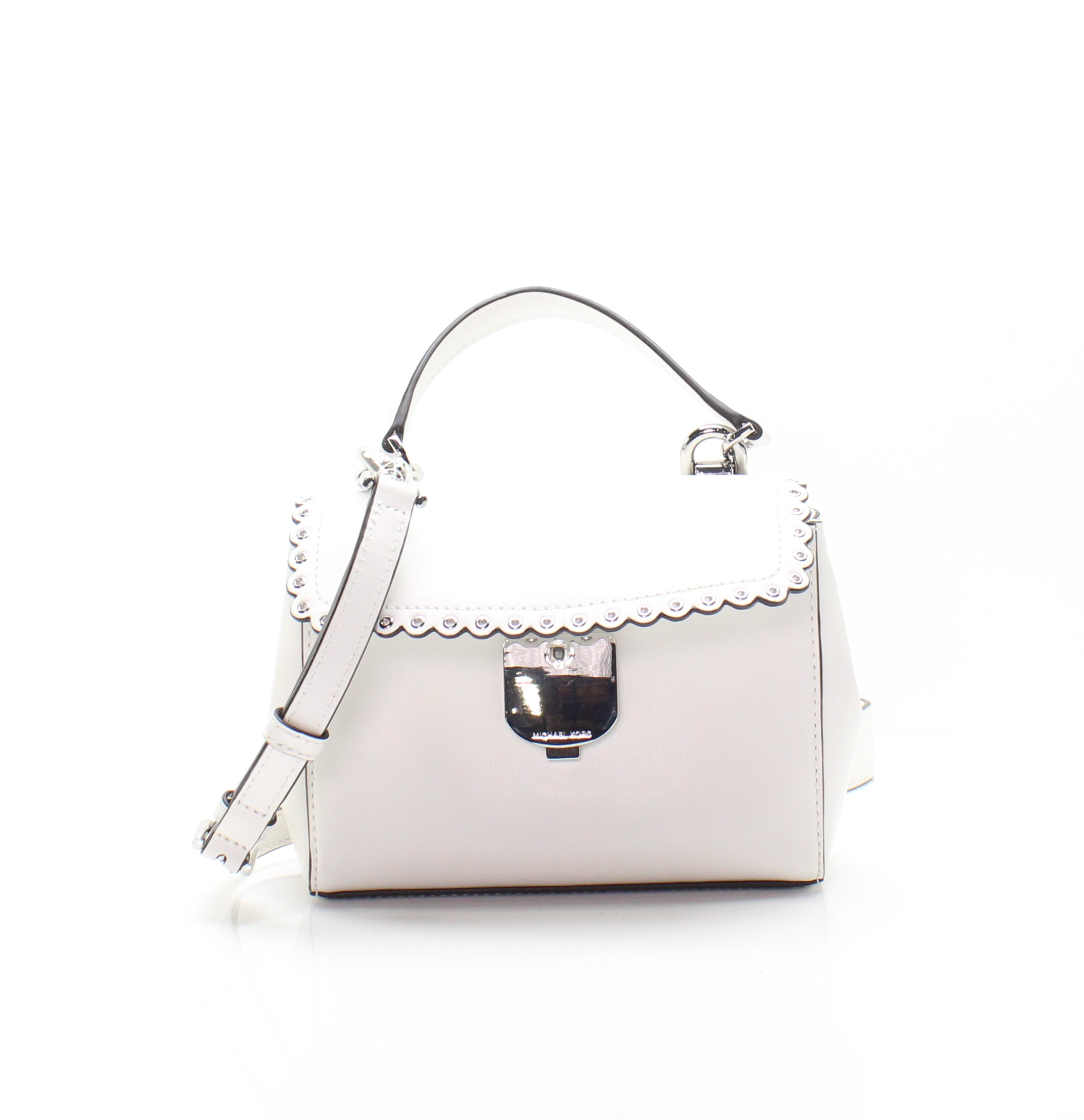 cf4623563ecf Details about Michael Kors NEW White Scalloped Leather Ava Extra Small  Crossbody Bag  228  049
