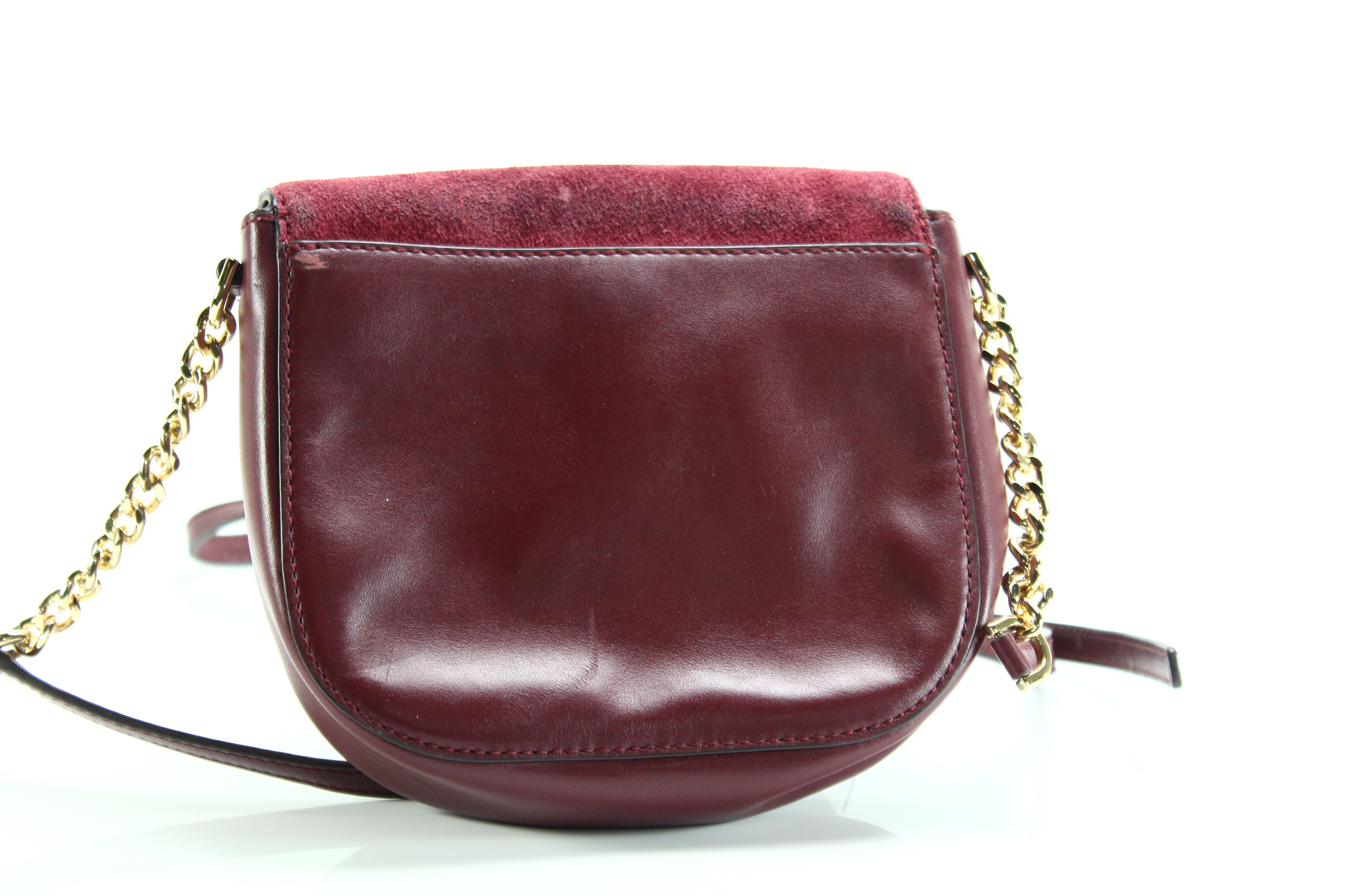 3f6e1a49f59b67 Michael Kors NEW Red Maroon Gold Half Dome Crossbody Leather Handbag ...