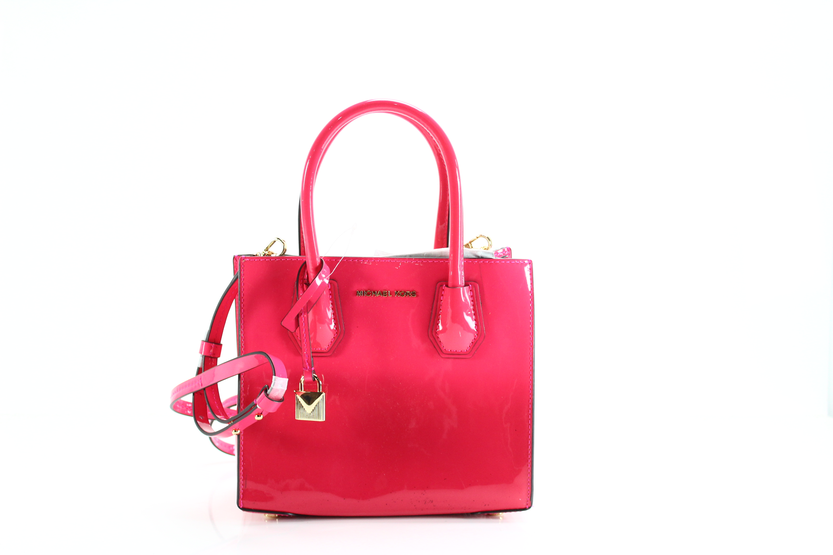 1cf47b95c78a Details about Michael Kors NEW Ultra Pink Gold Mercer Mini Tote Patent  Leather Bag  268-  009