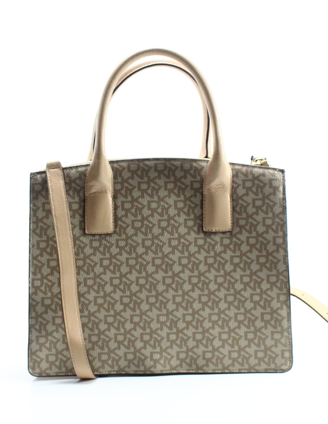 e85aac65cb487 DKNY NEW Mocha Beige Coated Canvas Signature Mott Small Tote Bag ...