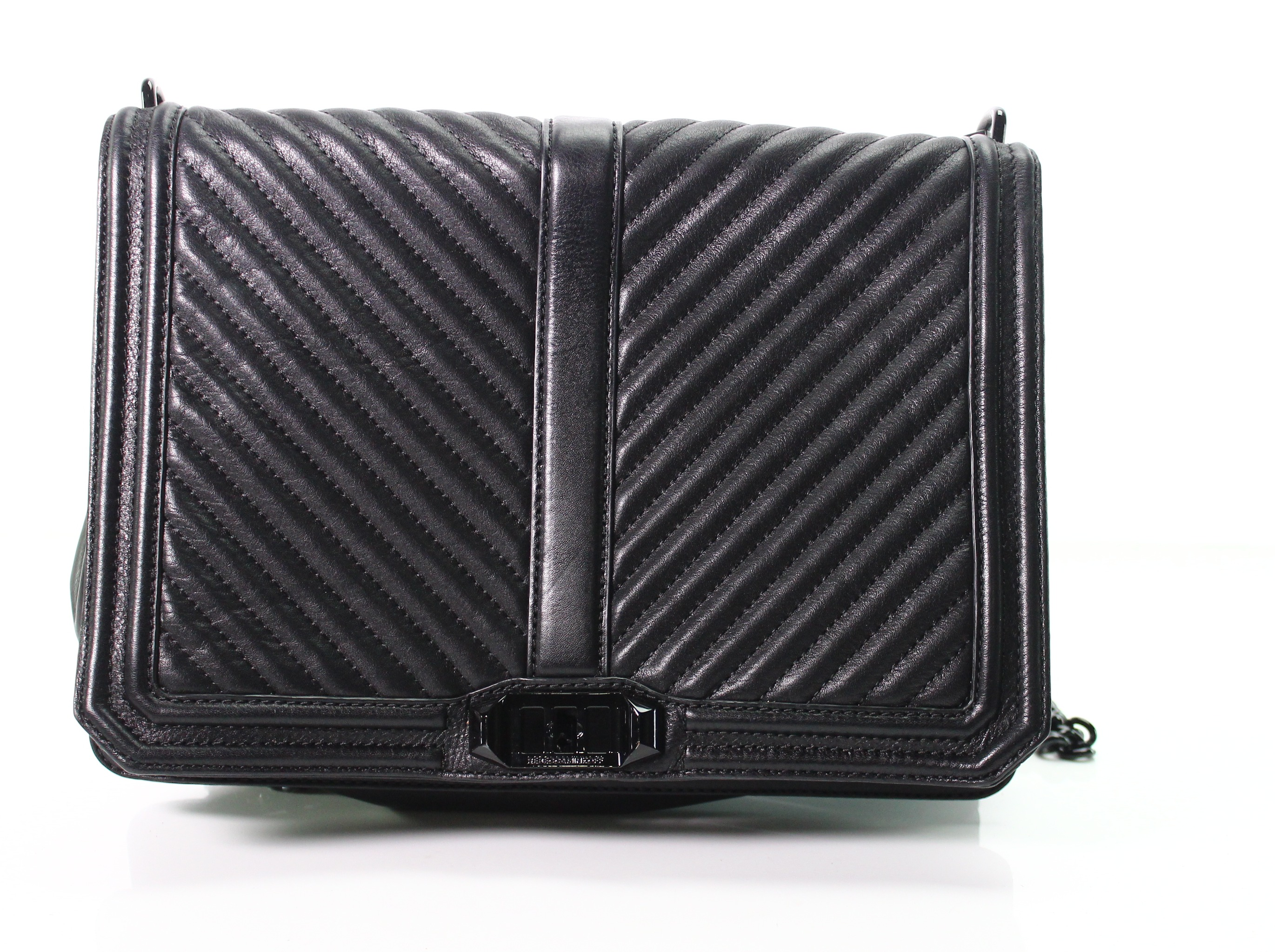Rebecca Minkoff NEW Black Chevron Quilted Jumbo Crossbody Leather Bag  355-   023 35811b4b59072