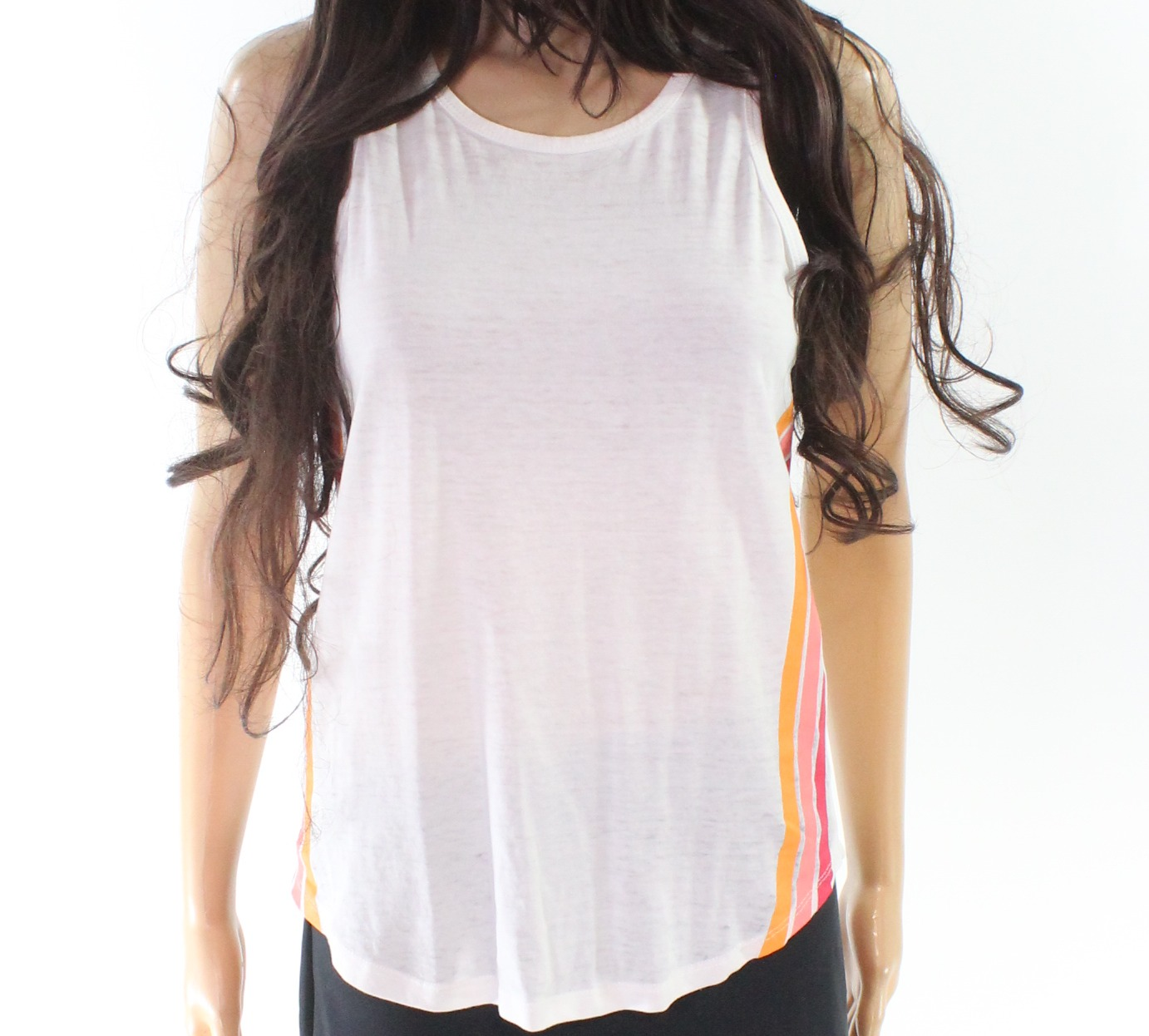 f0308508a5 Details about Pink Rose NEW White Women's Size Small S Striped Scoop Neck  Tank Cami Top #075