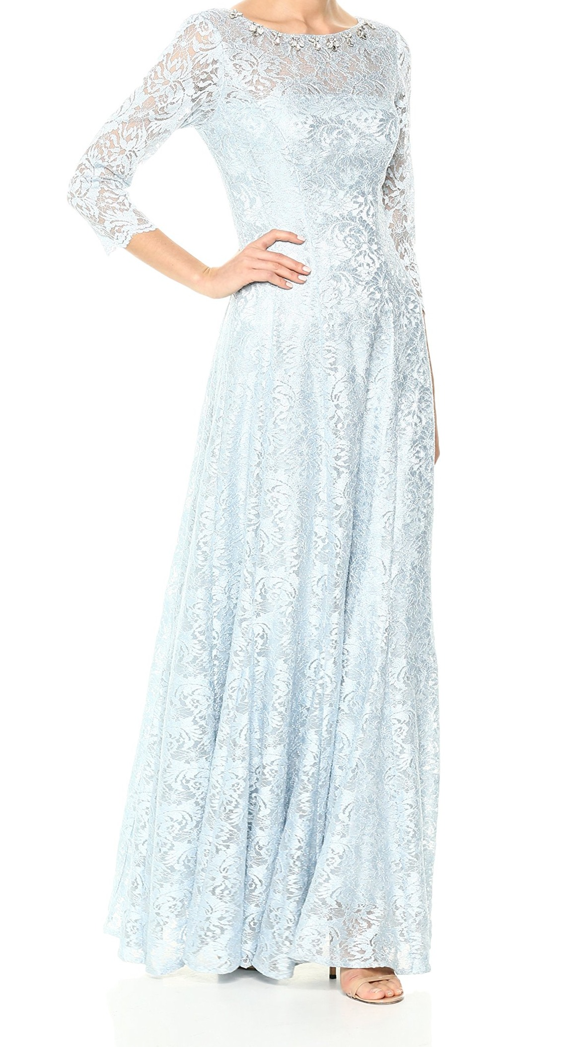 22f983ae713 Tahari by ASL NEW bluee Women s 12 Floral Lace Embellished Sheath Dress