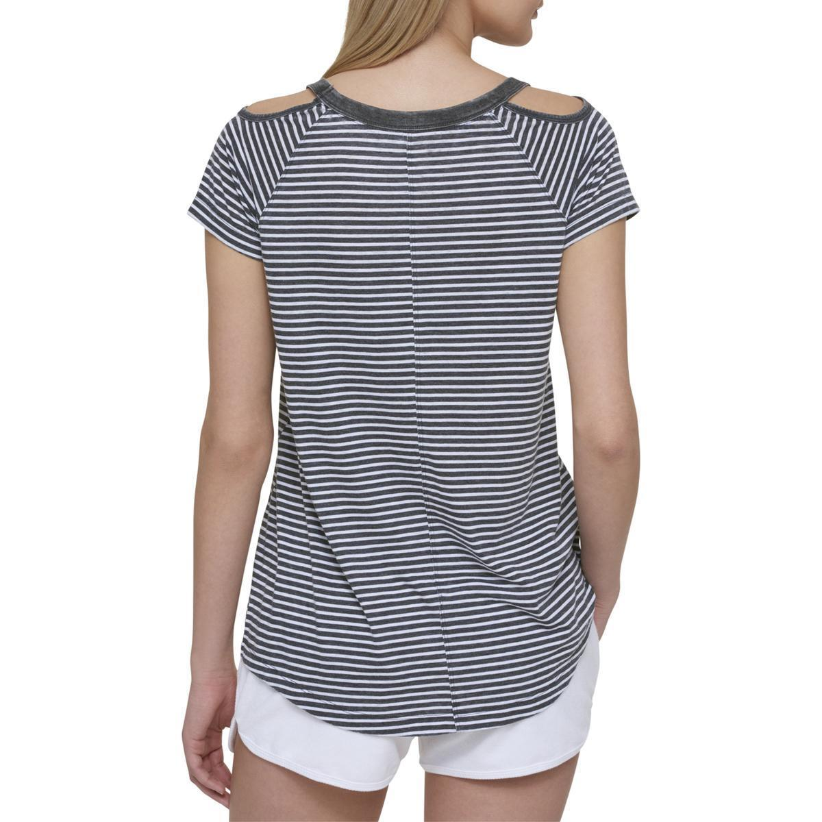 7f00732555841 Details about Tommy Hilfiger NEW Gray Women s Size Medium M Cold-Shoulder  Striped Top  39  482