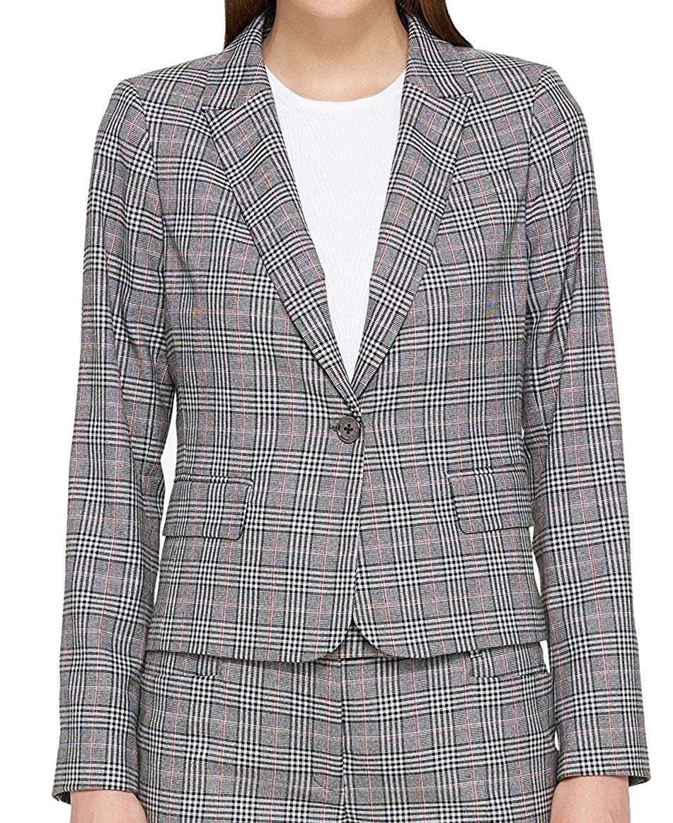 176dda5b Tommy Hilfiger NEW Black Women's Size 2 One-Button Plaid Blazer Jacket $139  #623
