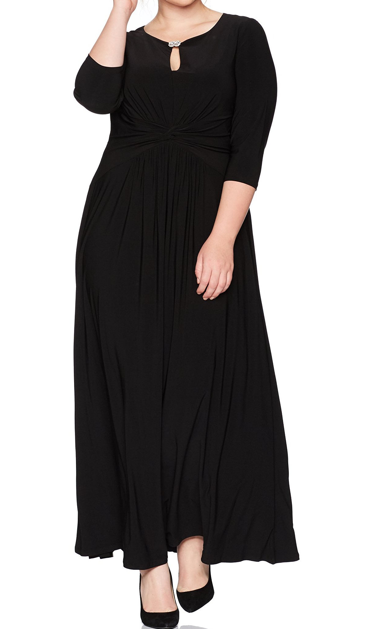 976ef88fd0864 Alex Evenings NEW Black Women s Size 20W Plus Ruched Embellished ...