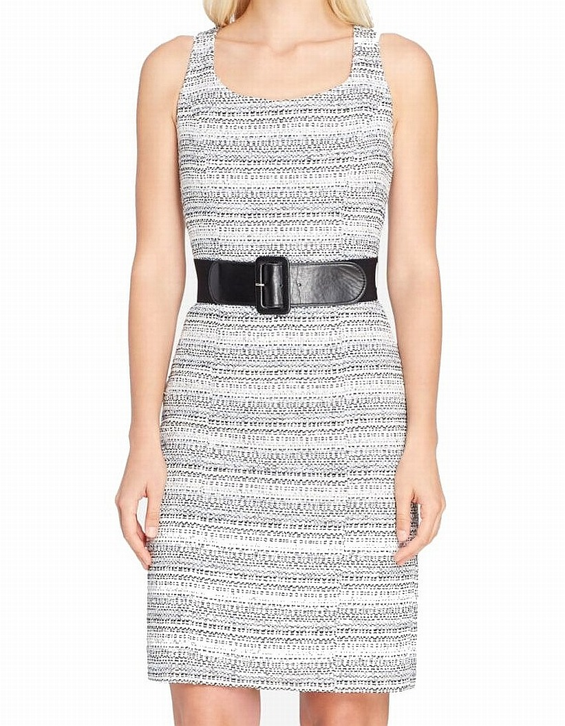 Tahari by ASL NEW bluee Women's USA Size 14 Belted Boucle Sheath Dress -