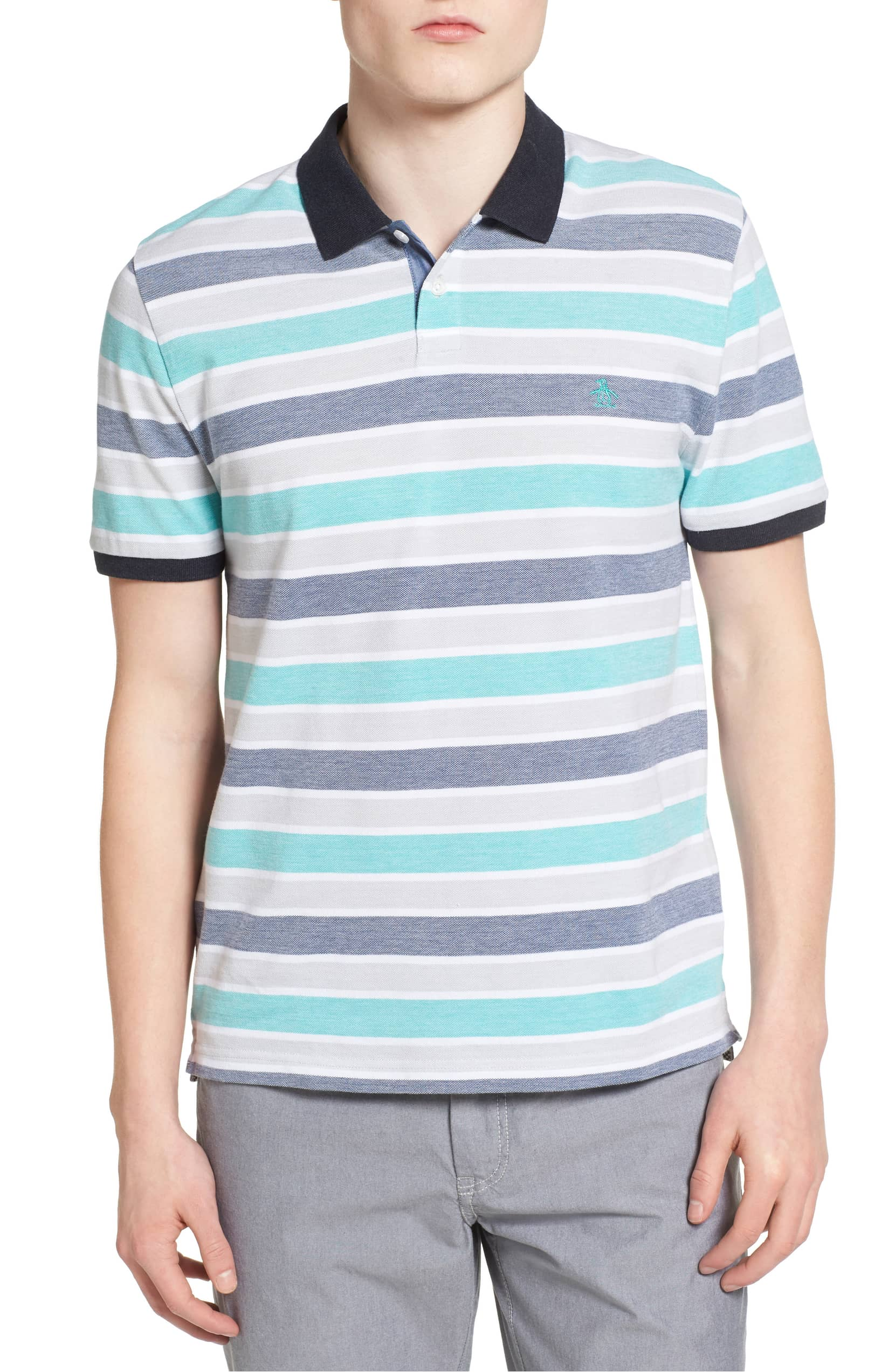 bab9ecdd Details about Original Penguin NEW Blue Mens Size Small S Birdseye Wide  Stripe Polo $69- #994