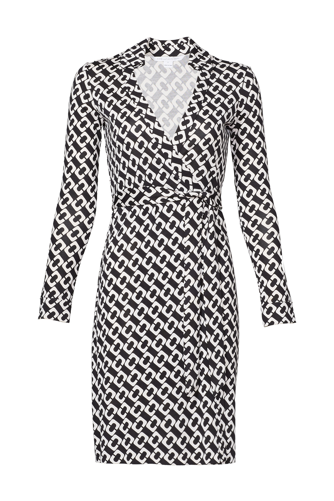a57813fc87645 Details about Diane von Furstenberg Blue Geo-Print Women's Size 4 Wrap Dress  Silk $368- #631