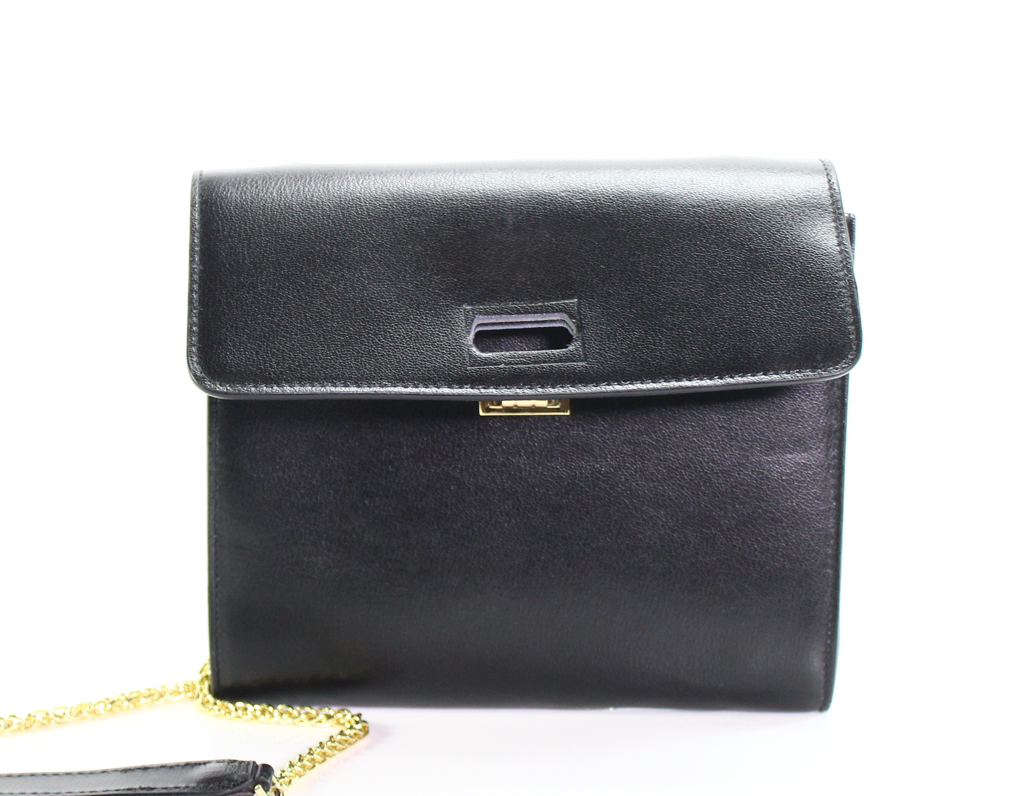 0f9ae3a05d3 Details about Valentino NEW Black Gold Chain Crossbody Leather Handbag Purse   269-  005