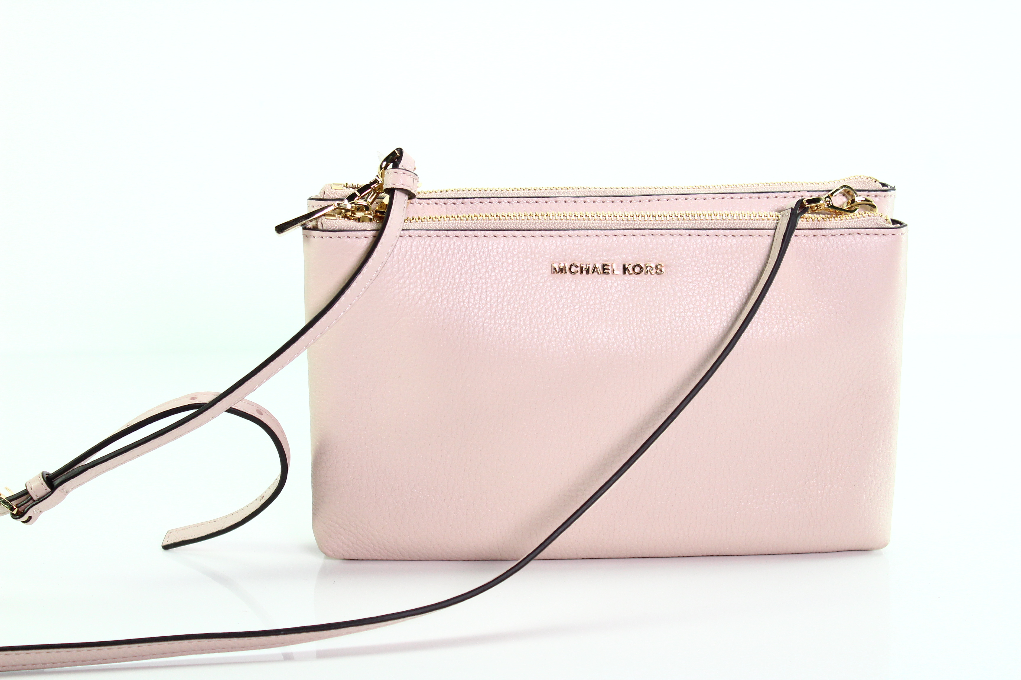 81349c9bfe7a Michael Kors NEW Soft Pink Adele Double Zip Crossbody Leather Bag $198- #009