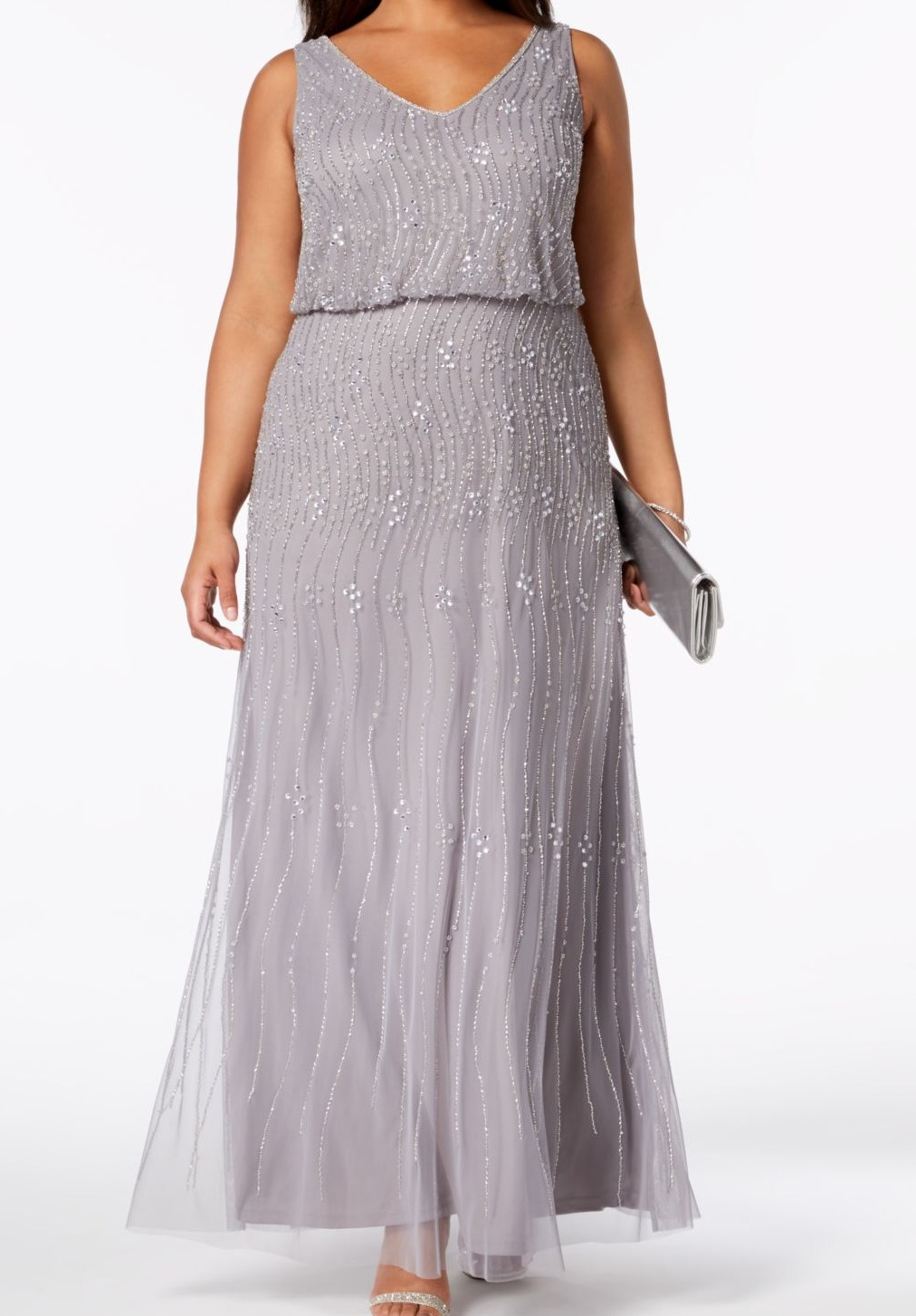 89bf49aa Adrianna Papell NEW Silver Beaded Blouson 16W Plus Gown Mesh Dress $309-  #100