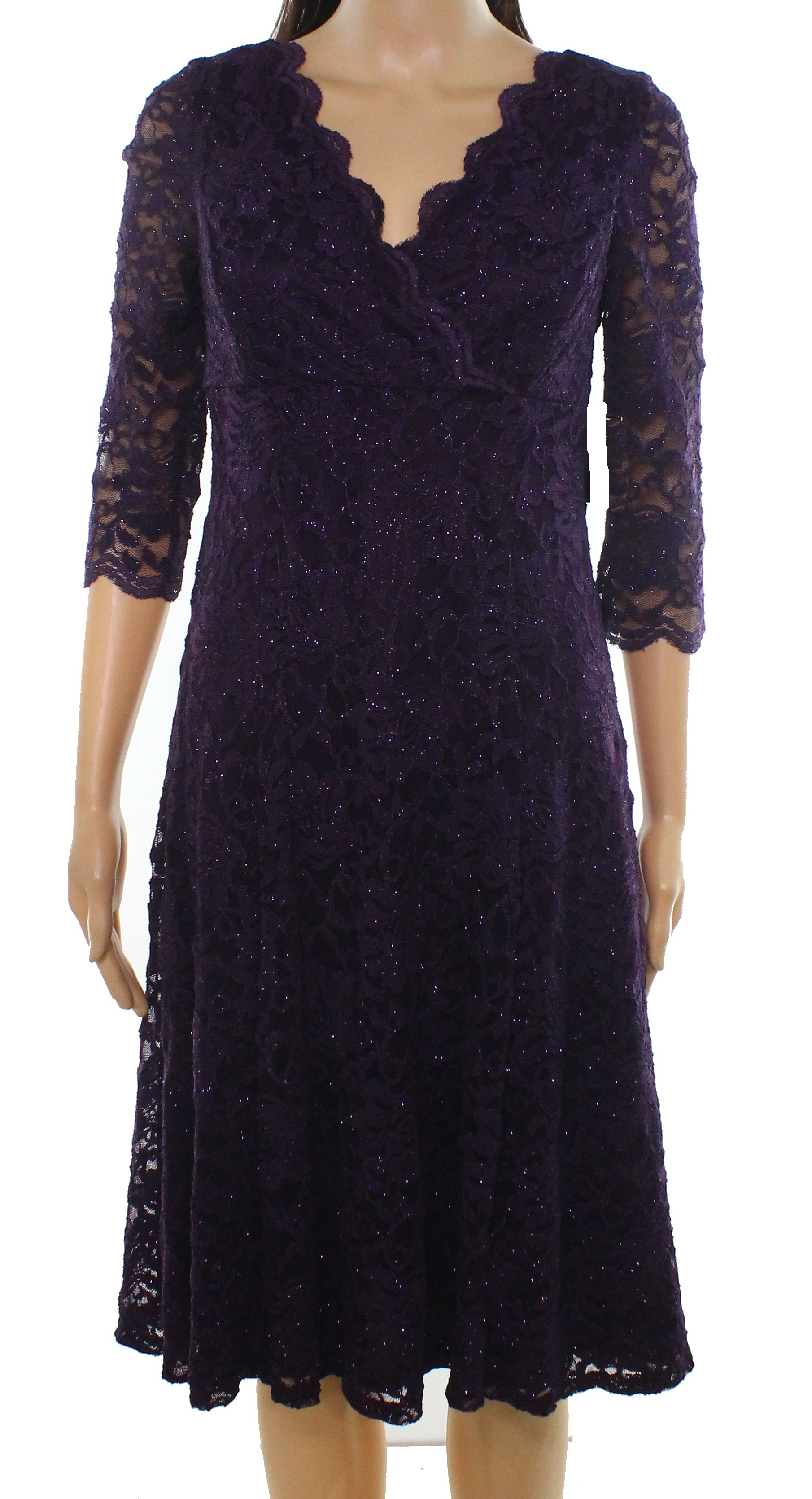 0d33678e1cfb Jessica Howard NEW Purple Women's Size 8P Petite Lace Shimmer Dress $109  #391