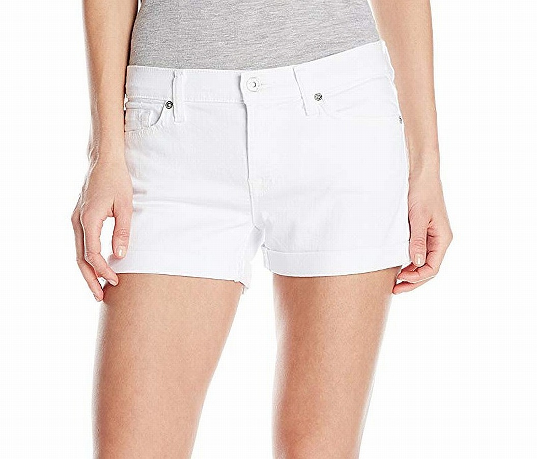 New-7-For-All-Mankind-NEW-White-Women-039-s-Size-31-Roll-Up-Denim-Shorts-140-987