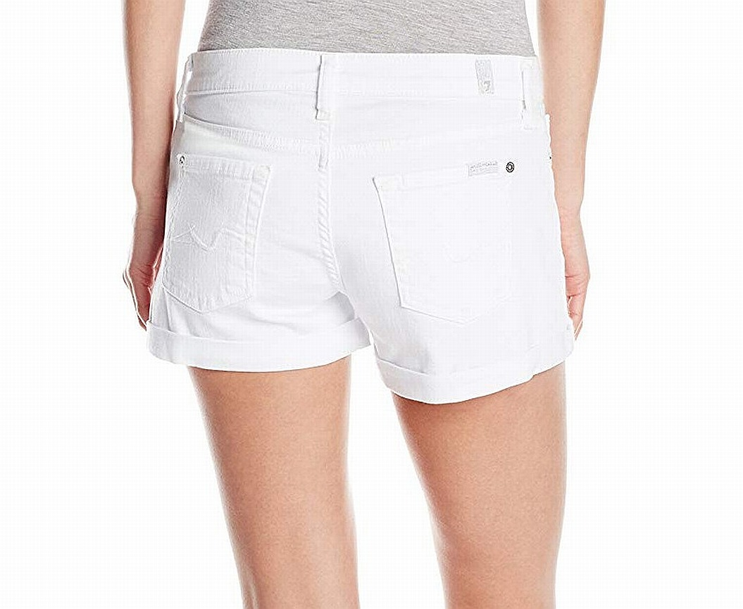 New-7-For-All-Mankind-NEW-White-Women-039-s-Size-31-Roll-Up-Denim-Shorts-140-987 thumbnail 2