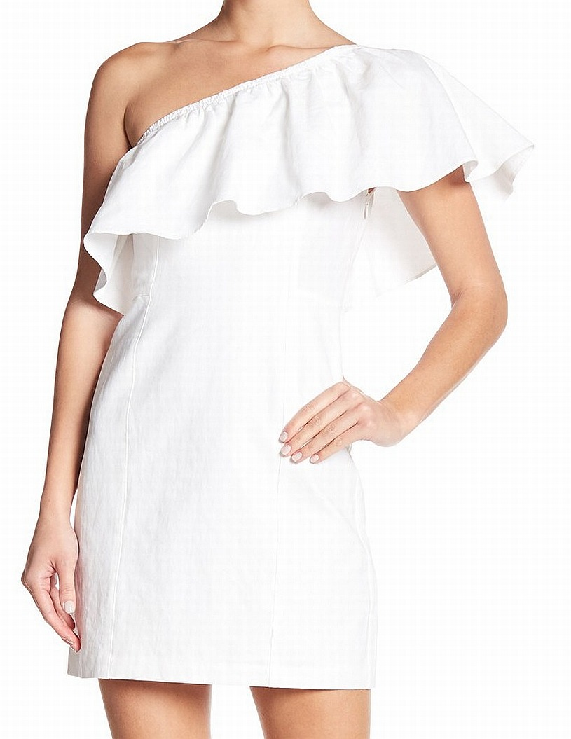 174dbf5104468a A.L.C NEW White Evan Ruffle One Shoulder Women s Size 6 A-Line Dress  395-   317