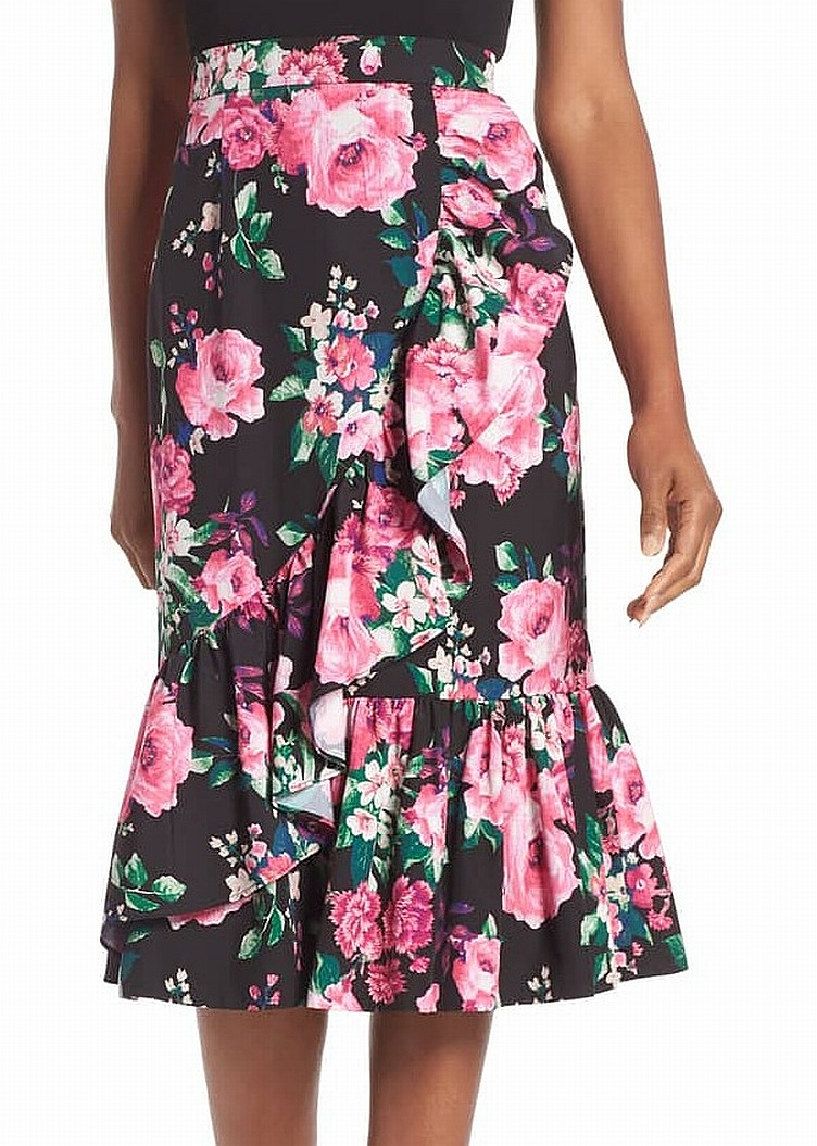 93edb40076 Eliza J NEW Black Floral Print Ruffle Women Size 6 Pencil Midi Skirt $148  #190