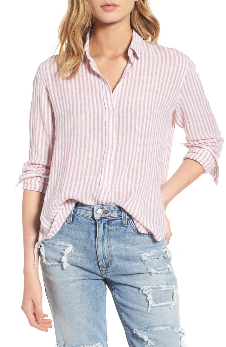 1b173ccbf8 Details about Rails NEW Pink Women's Size Small S Striped High Low Button  Down Shirt $158 #308
