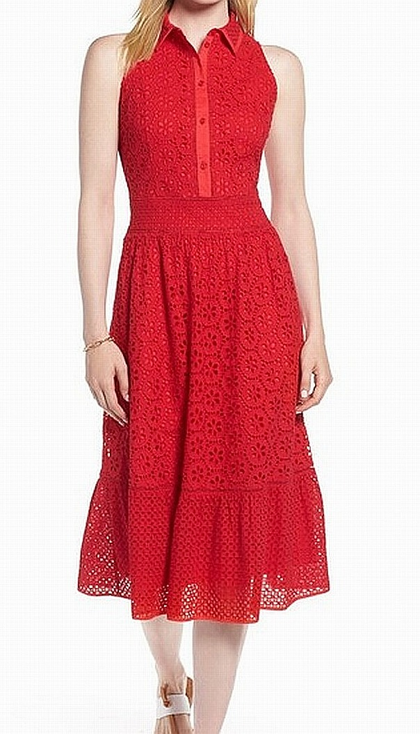 48474ac6c3208 1901 NORDSTROM NEW Red Eyelet Women's Size 14P Petite Sheath Dress $139 #513