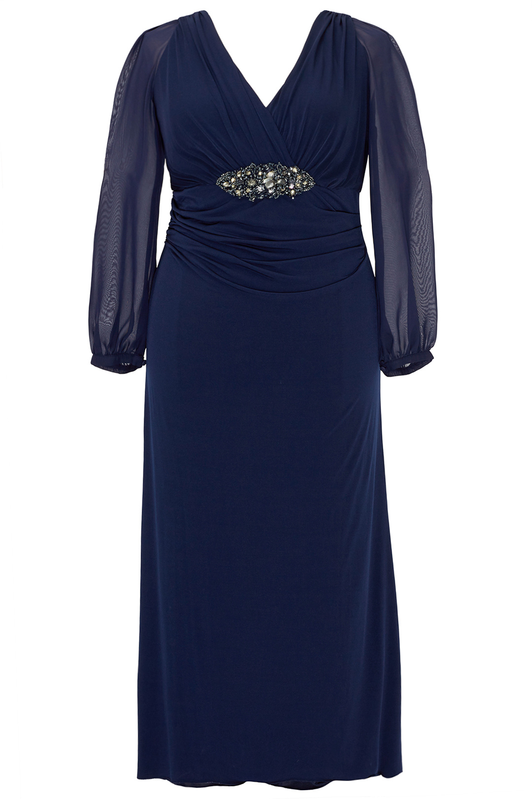 Details about David Meister Blue Women\'s Size 20W Plus Gown Beaded V-Neck  Dress $650- #682