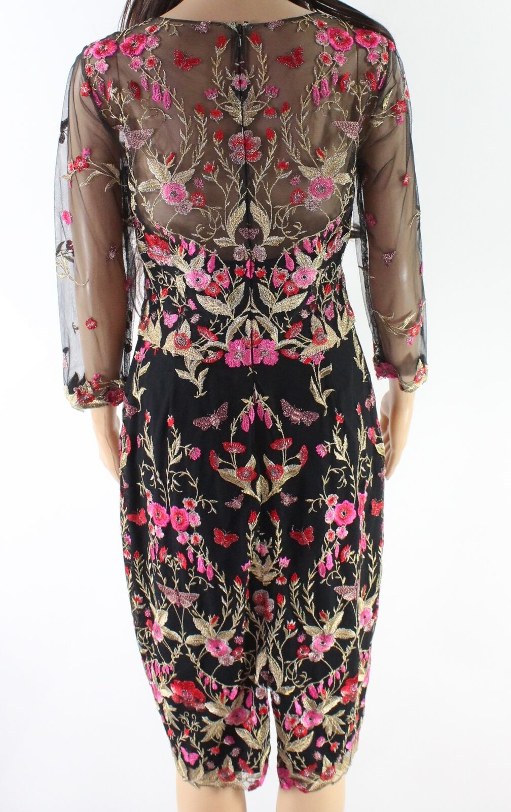 547ba4a2571 Marchesa Notte Black Women's Size 10 Floral Embroidered Sheath Dress ...