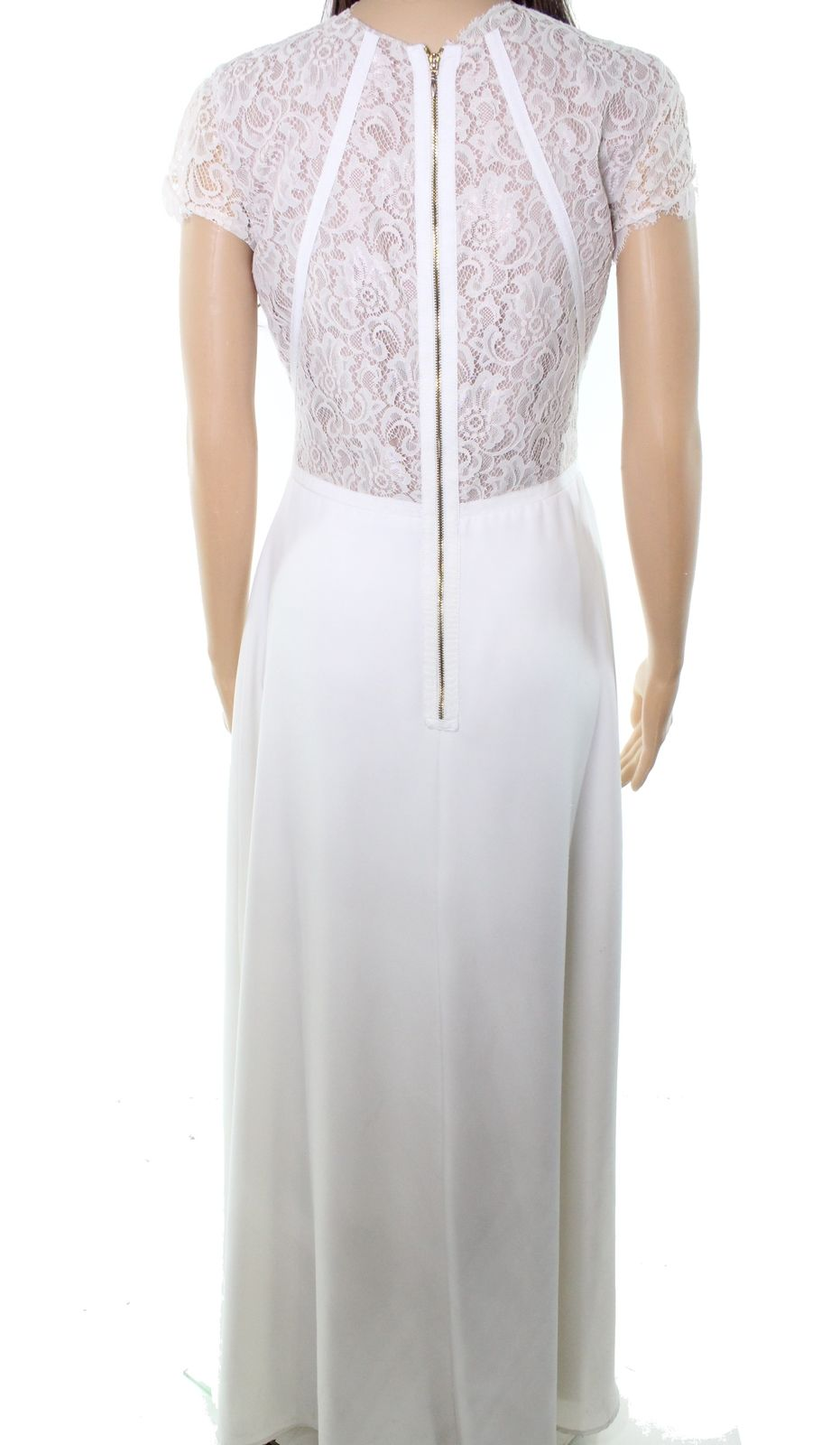Nha Khanh White Ivory Women's Women's Women's Size 6 Crepe Floral Lace Bodice Gown  945 11901e
