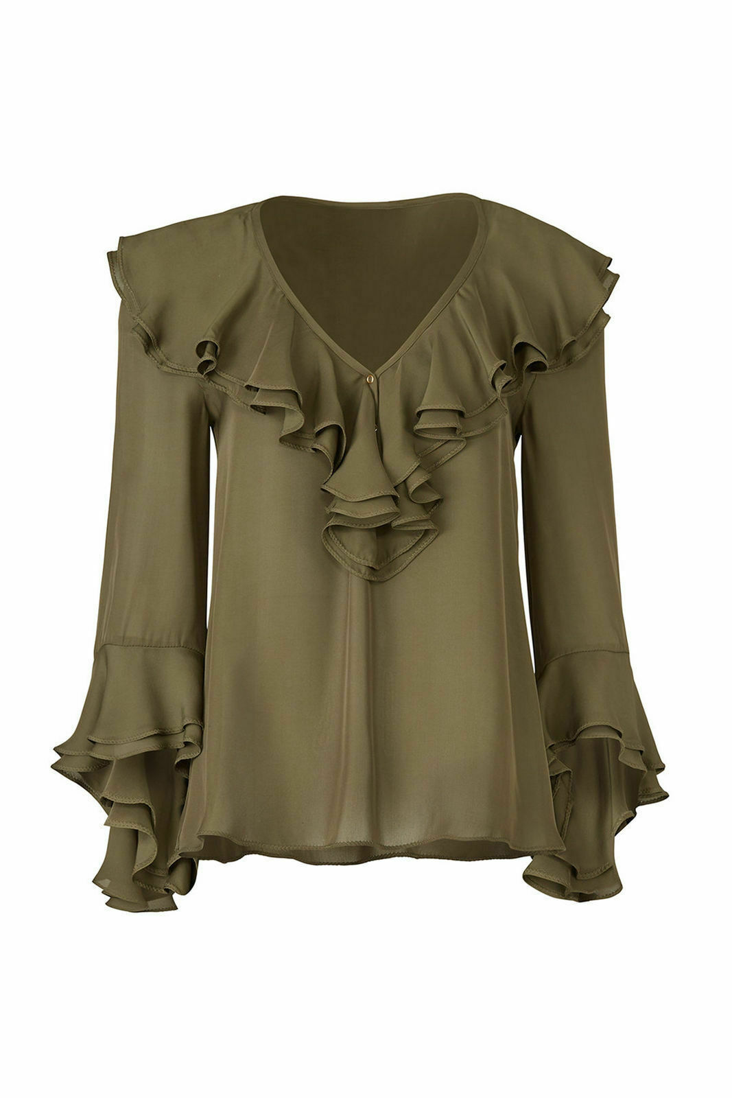 1c3b9c285a779 Details about Trina Turk Green Ruffled V-Neck Women s Size Medium M Blouse  Silk  278-  988