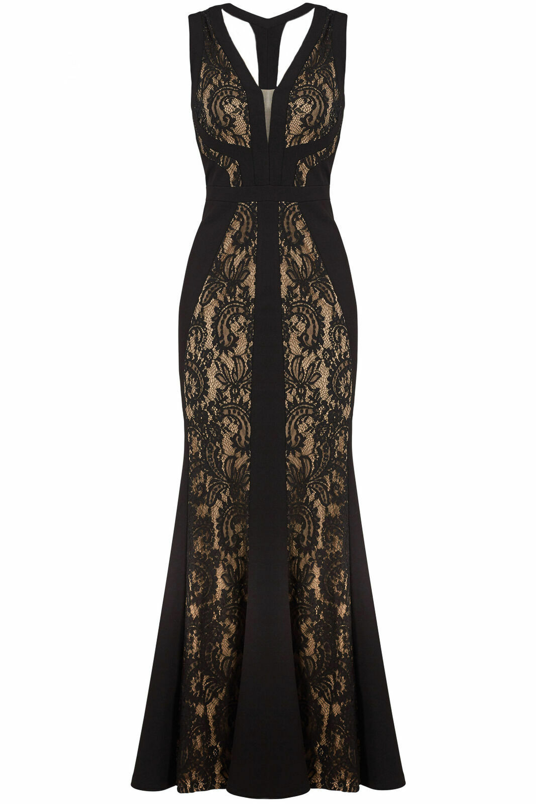 LM Collection Womens Lace Sleeveless Gown Black Beige Size