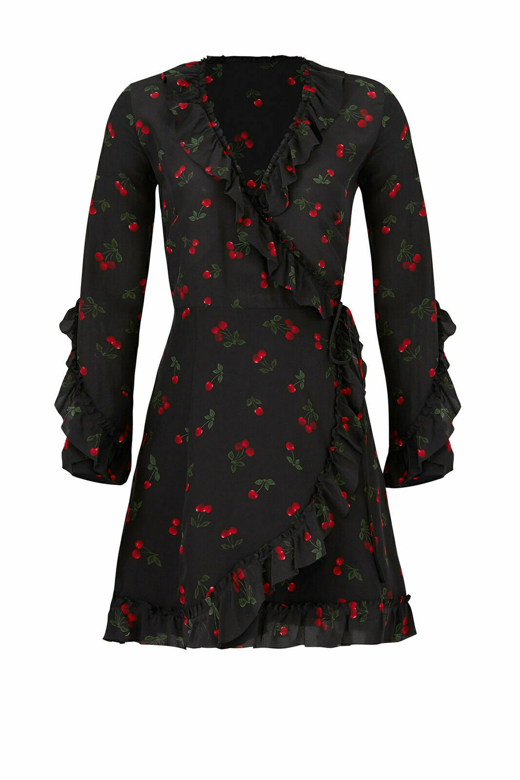 6245da615f3 The Kooples Black Women s Size 2 Ruffle Cherry Print Silk Wrap Dress  365-   674