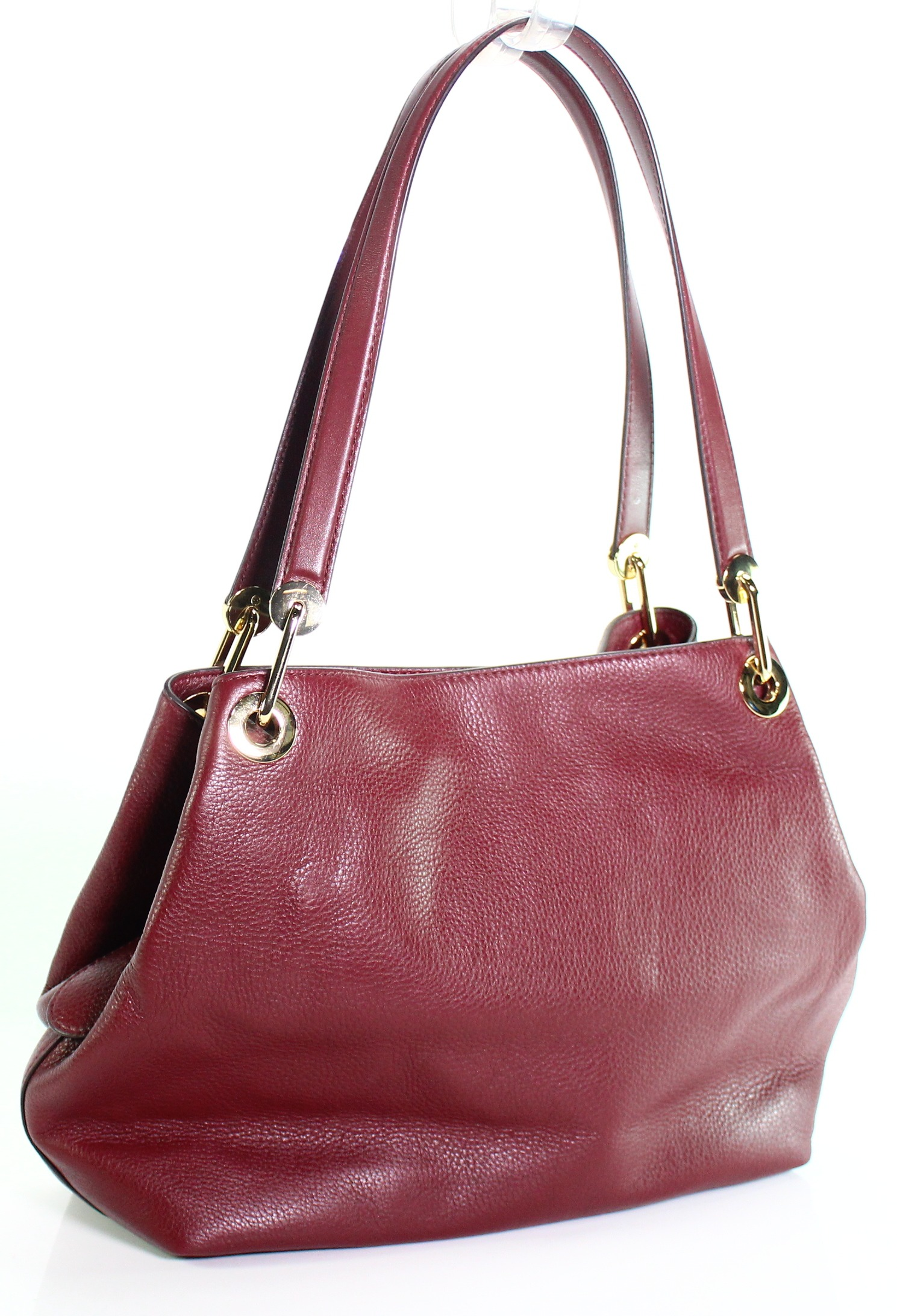 Michael Kors New Oxblood Red Raven Pebble Leather Large
