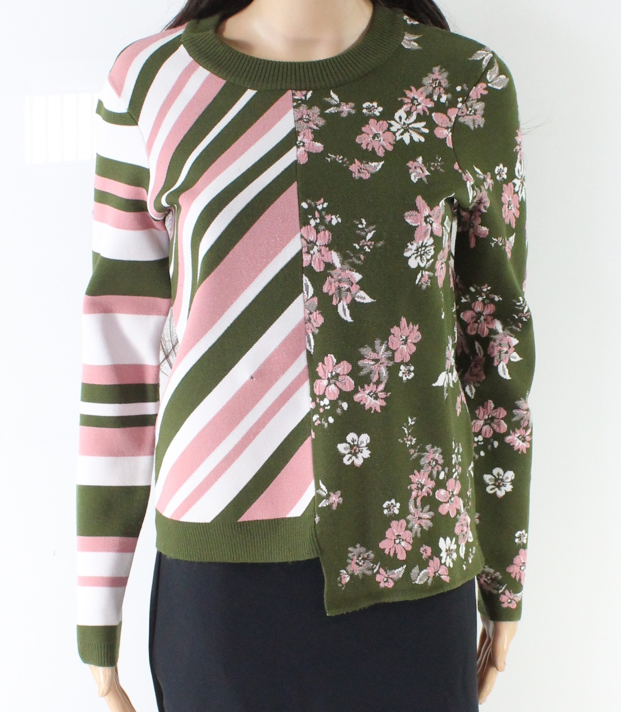 f628d50c2c Details about Milly Green Women s Size P Petite Floral Striped Crewneck  Sweater  375-  955
