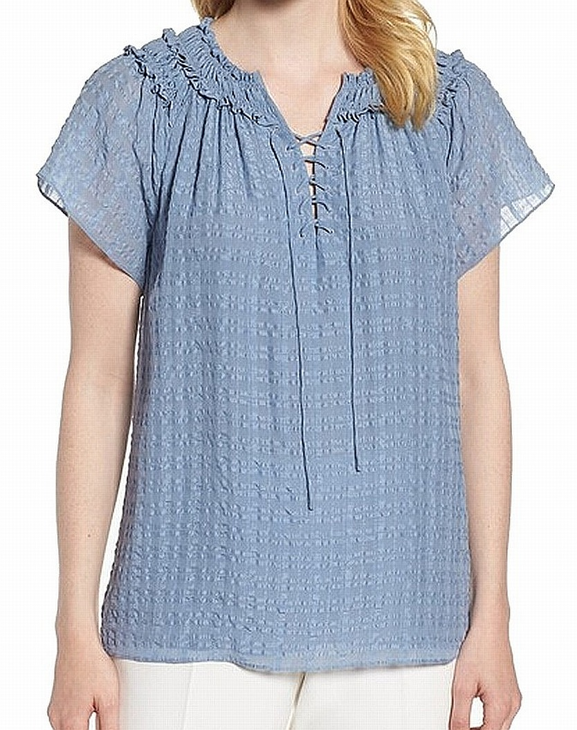 Nordstrom Signature NEW Blau Ruffled Lace-Up Small S Top Blouse Silk 199  348