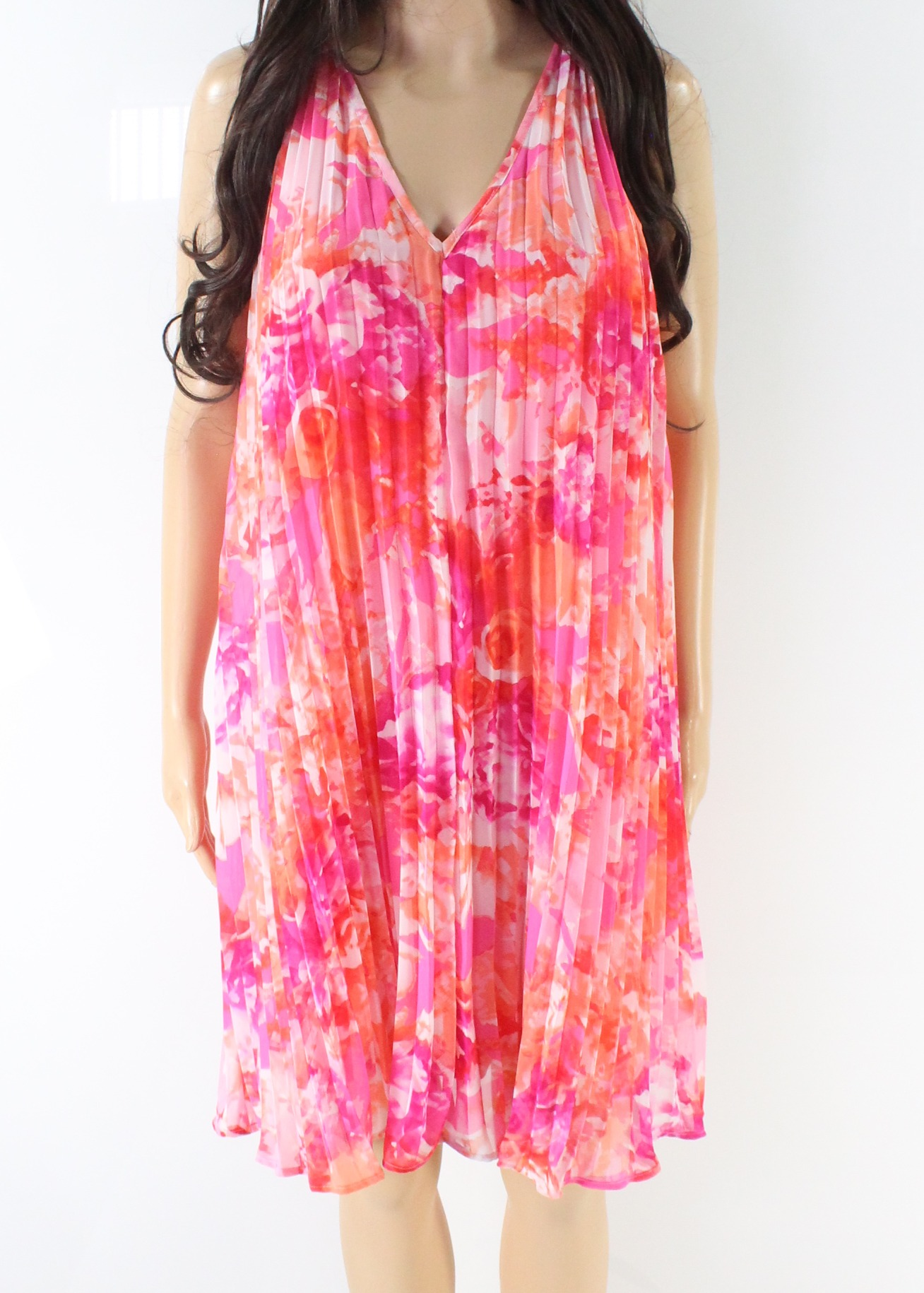 Vince-Camuto-NEW-Pink-Women-039-s-Size-2-Floral-Pleated-V-Neck-Shift-Dress