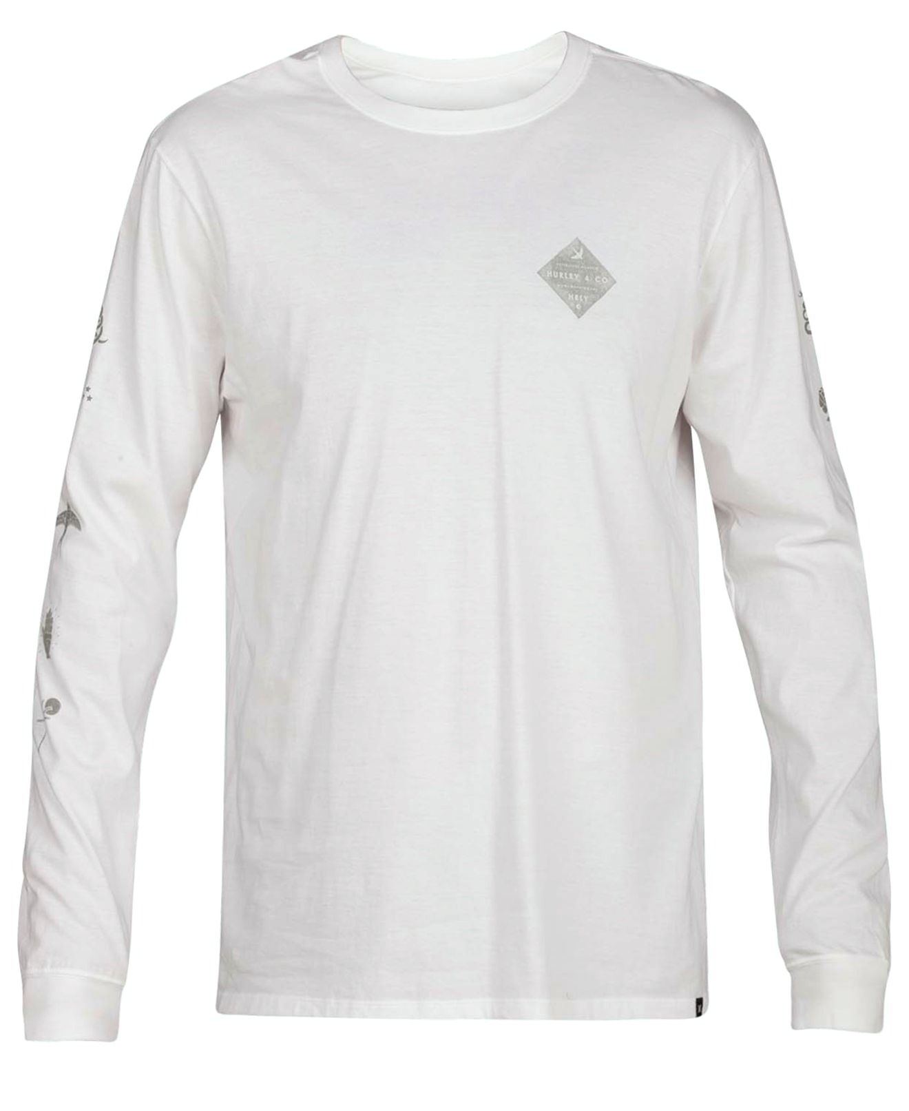 New-Hurley-NEW-White-Mens-Size-XL-Crew-Long-Sleeve-Graphic-Tee-T-Shirt-30-095