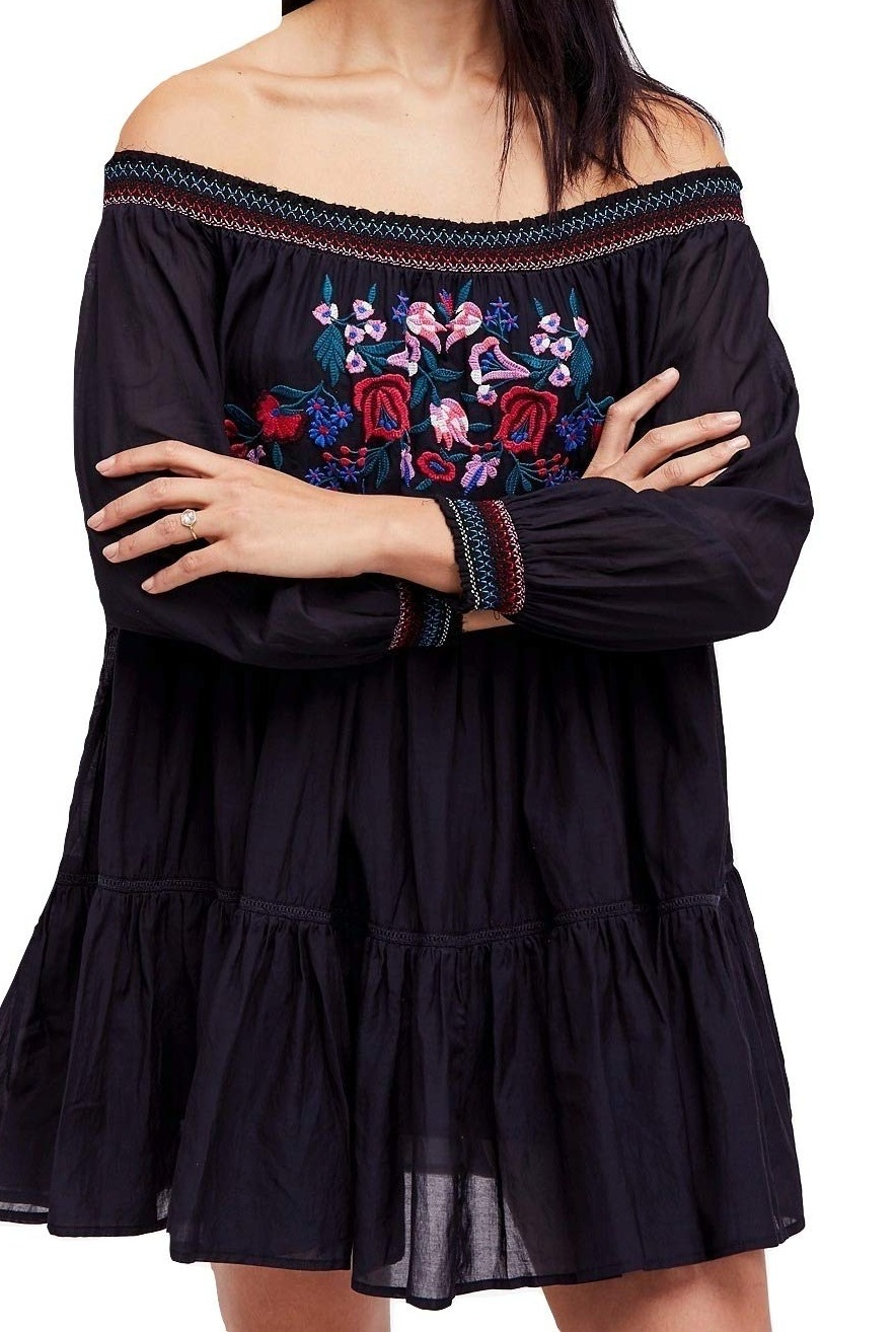 Free-People-NEW-Black-Women-Small-S-Embroider-Off-Shoulder-Shift-Dress-148-613