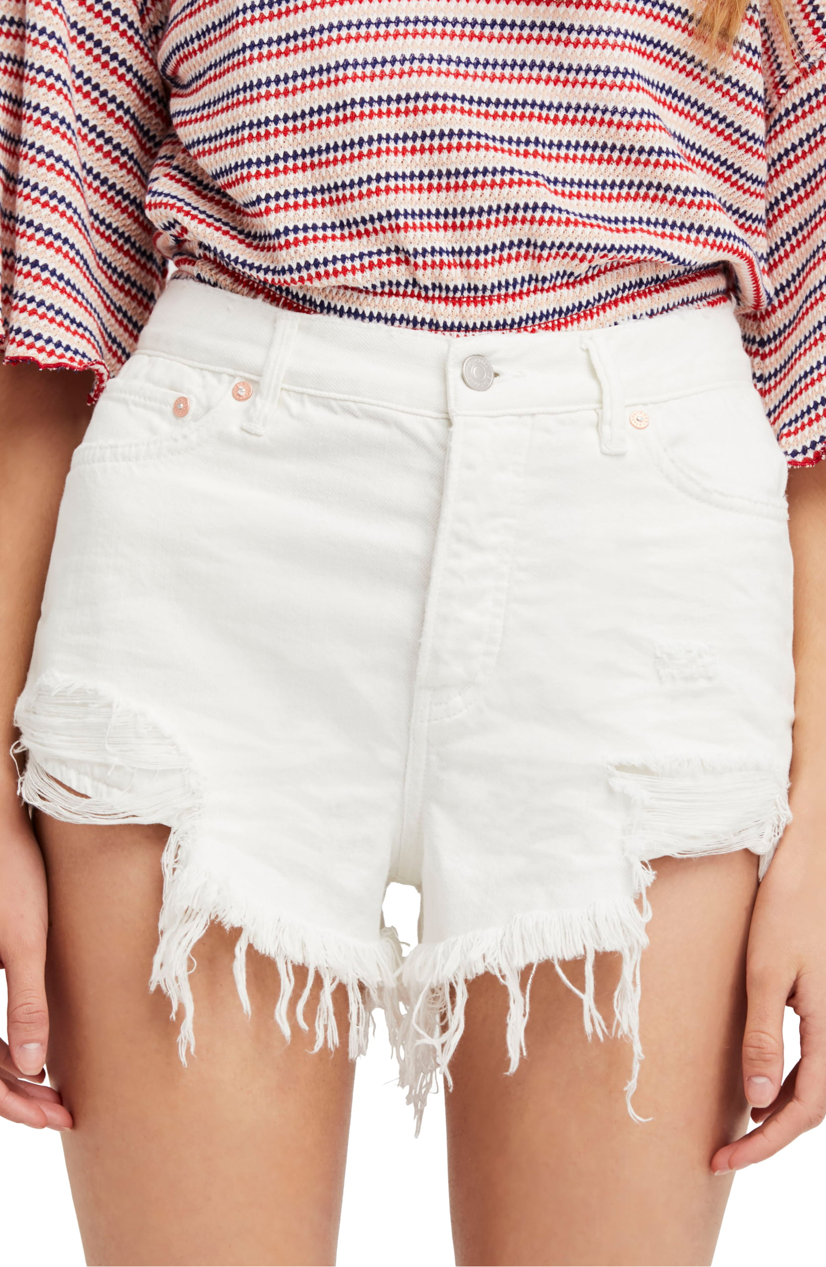 Free-People-Spring-White-Women-039-s-Size-27-High-Rise-Ripped-Denim-Shorts-68-406