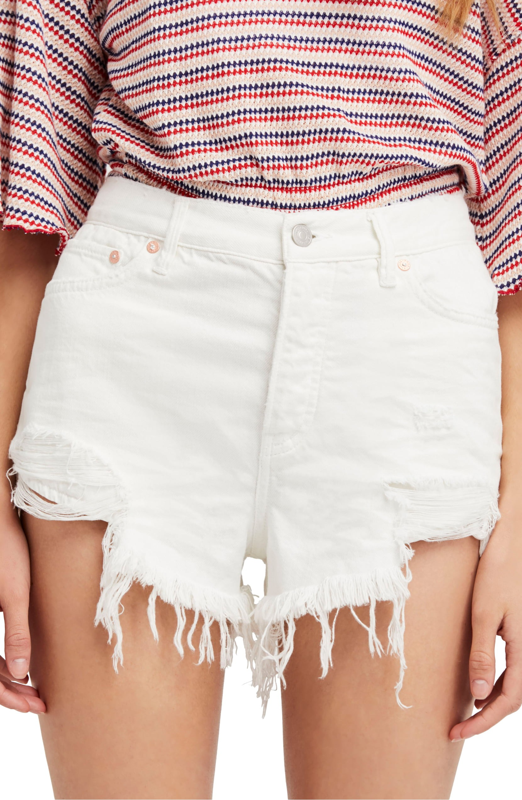 Free-People-Spring-White-Women-039-s-Size-29-High-Rise-Ripped-Denim-Shorts-68-407
