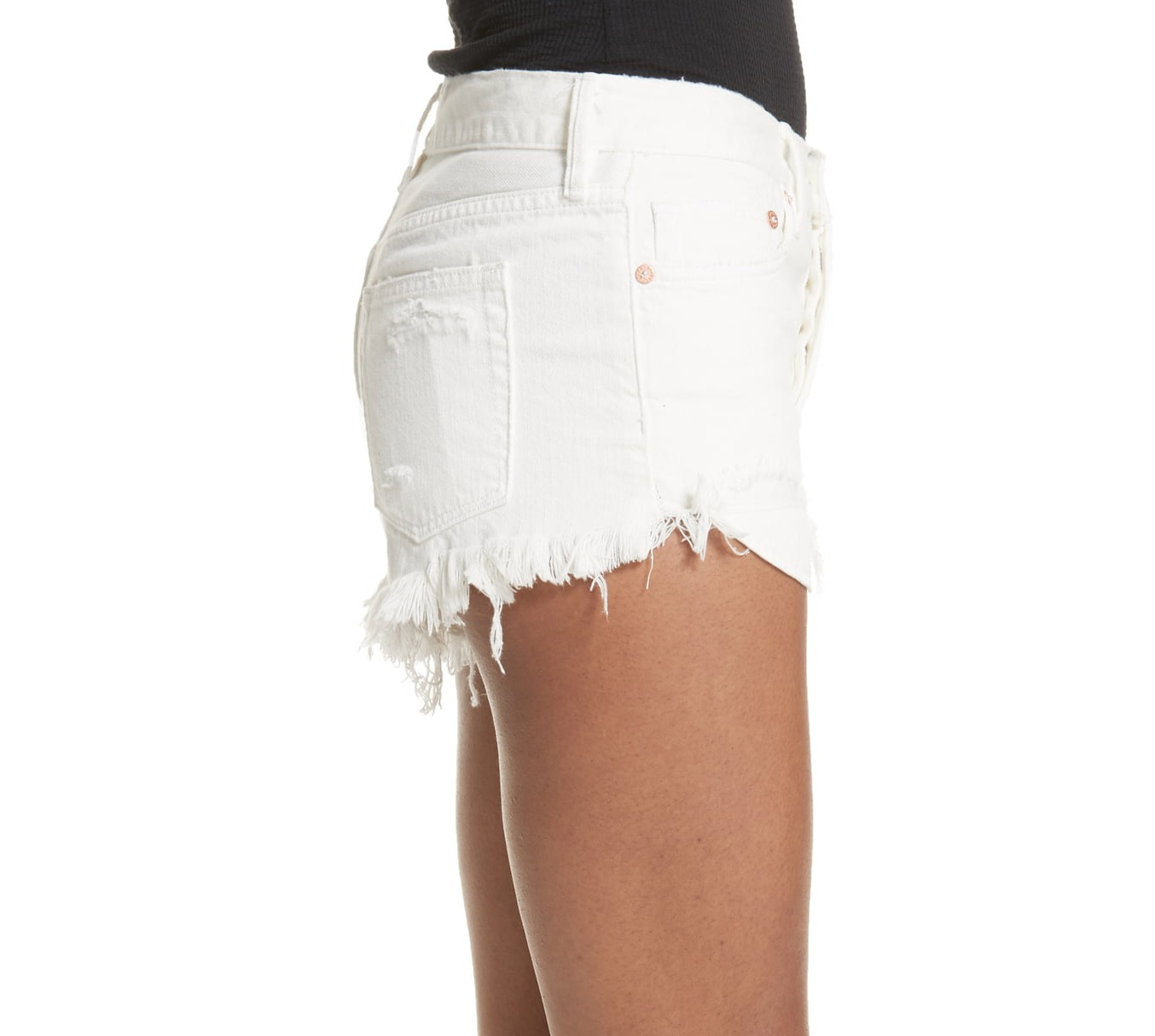 Free-People-Spring-White-Women-039-s-Size-29-High-Rise-Ripped-Denim-Shorts-68-407 thumbnail 3