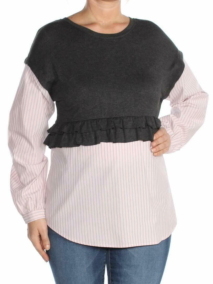 Kensie-Women-039-s-Gray-Size-Medium-M-Stripe-Contrast-Layered-Look-Blouse