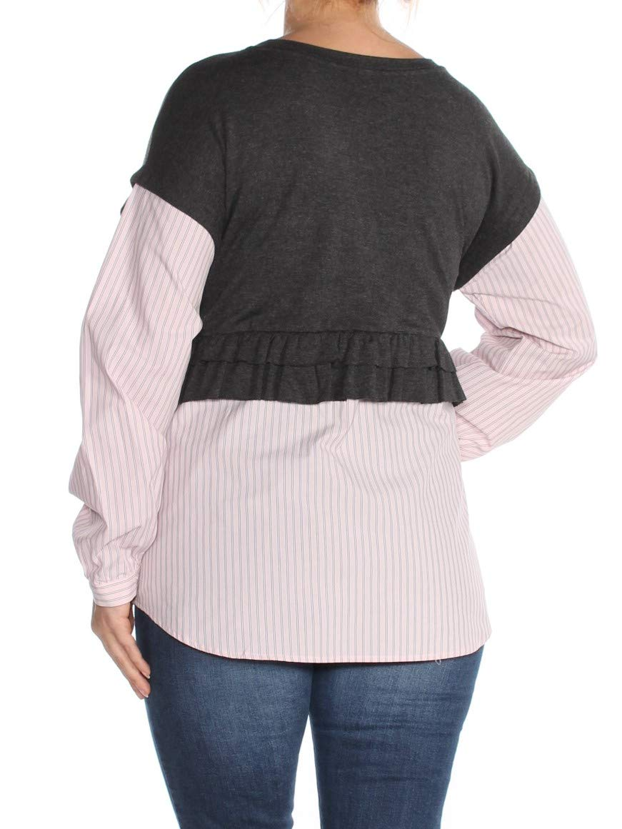 Kensie-Women-039-s-Gray-Size-Medium-M-Stripe-Contrast-Layered-Look-Blouse thumbnail 2