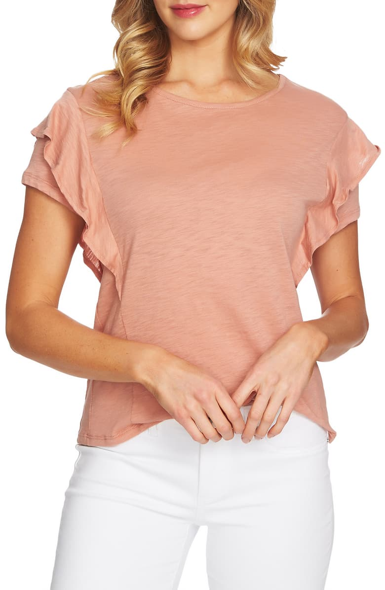 Cece-Women-039-s-Top-Blouse-Pink-Size-Small-S-Ruffled-Flutter-sleeve