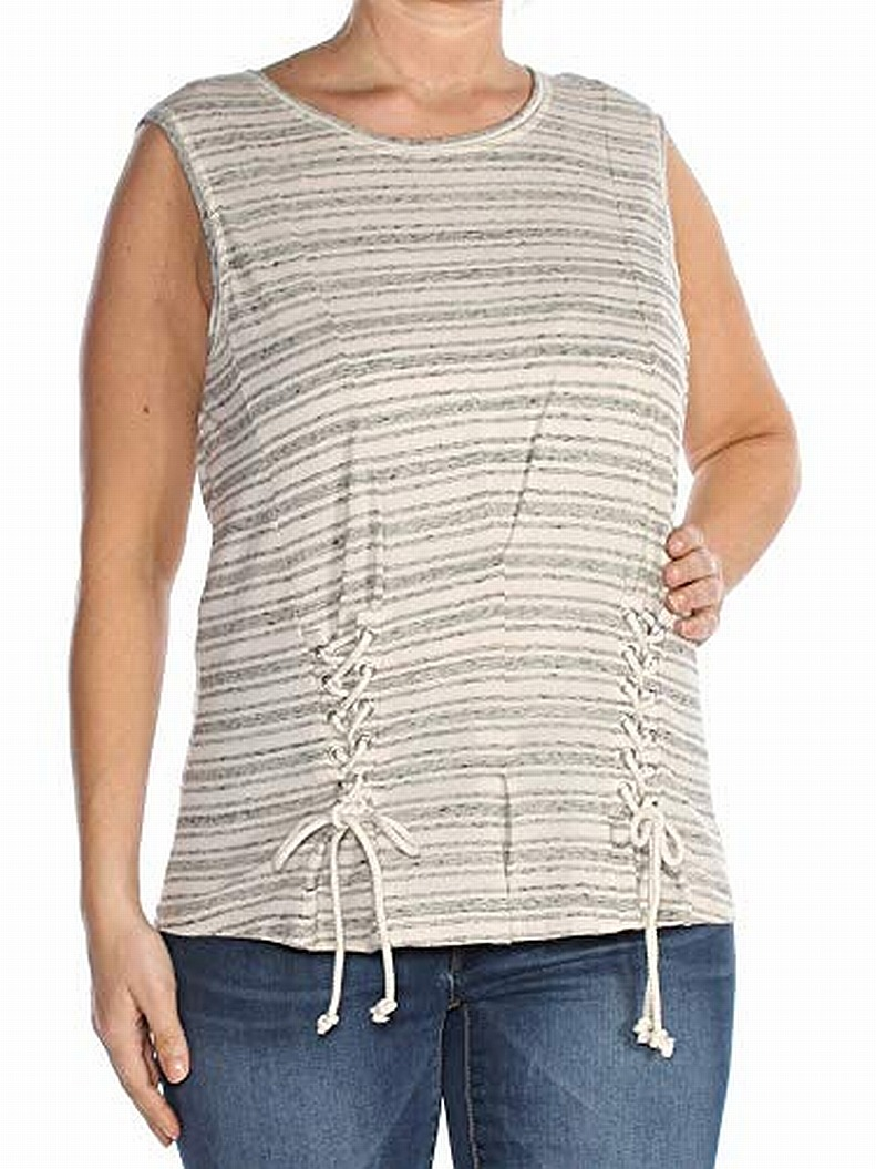 William-Rast-Gray-Women-039-s-Size-Small-S-Striped-Lace-Up-Tank-Top