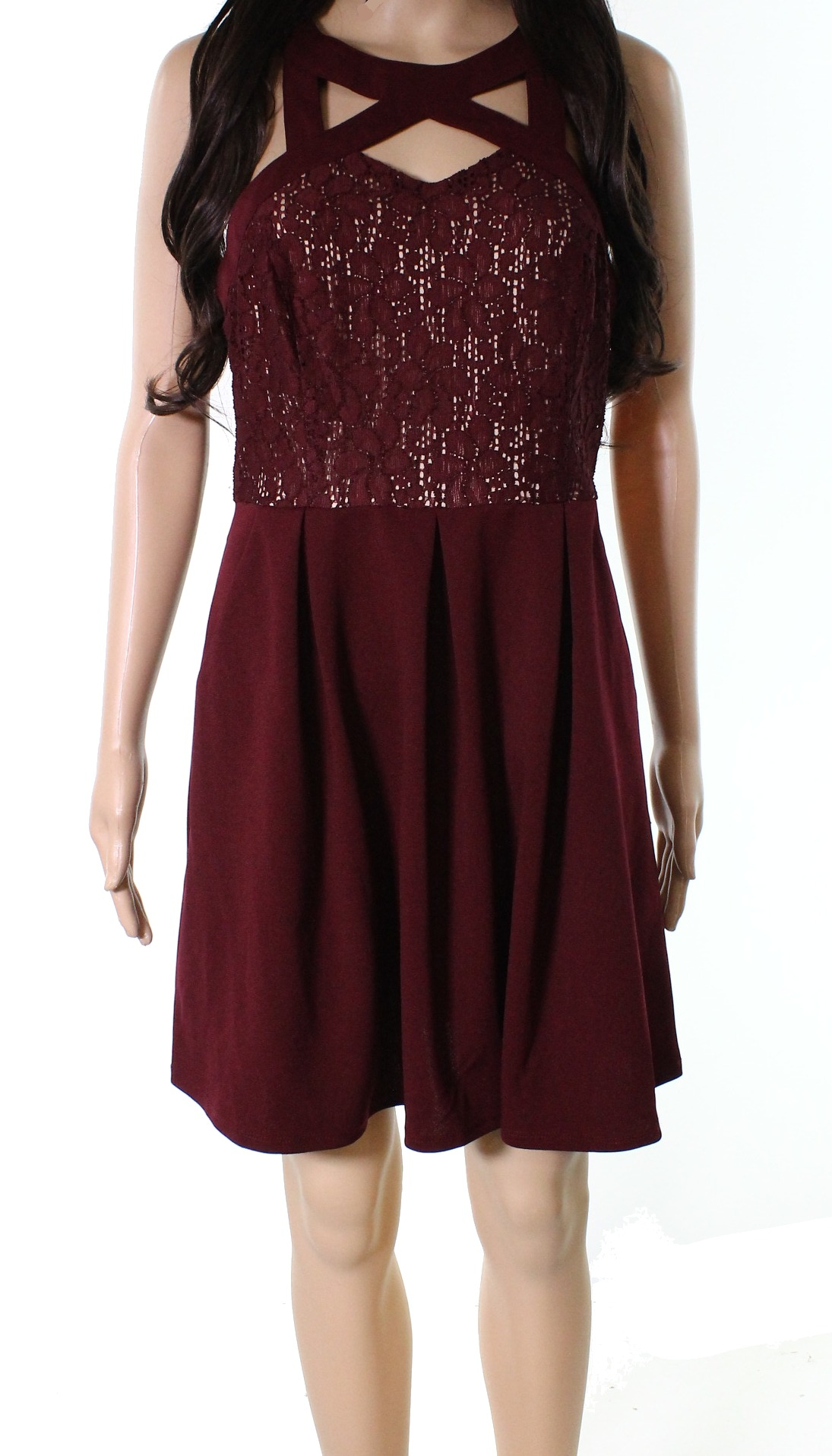 New-Speechless-NEW-Red-Junior-Size-Large-L-A-Line-Pleated-Lace-Dress-52-293