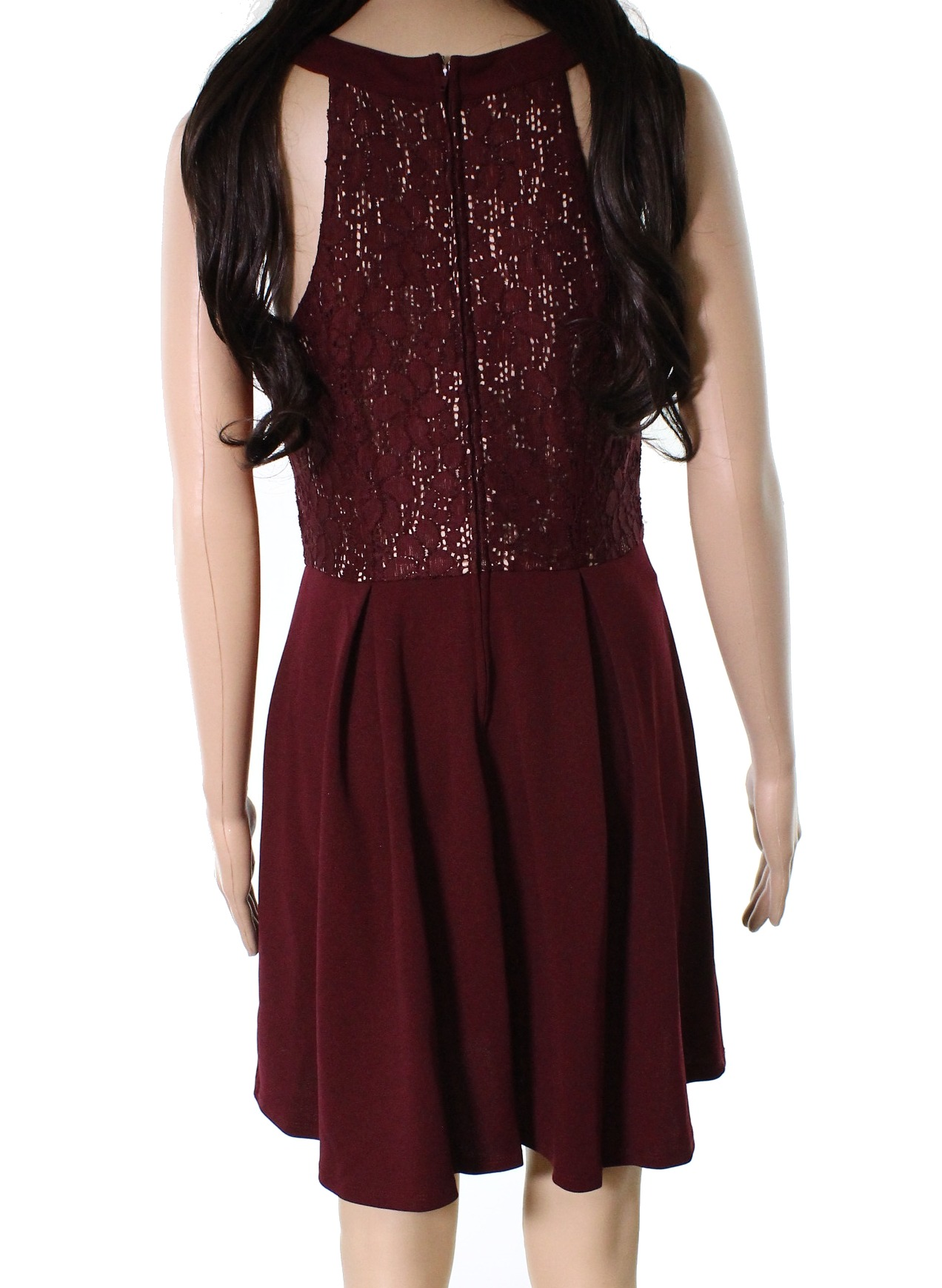 New-Speechless-NEW-Red-Junior-Size-Large-L-A-Line-Pleated-Lace-Dress-52-293 thumbnail 2