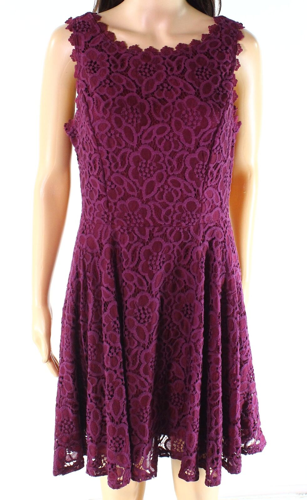 City Triangles NEW Red Plum Size 9 Junior A-Line Floral Lace Dress 52 #819
