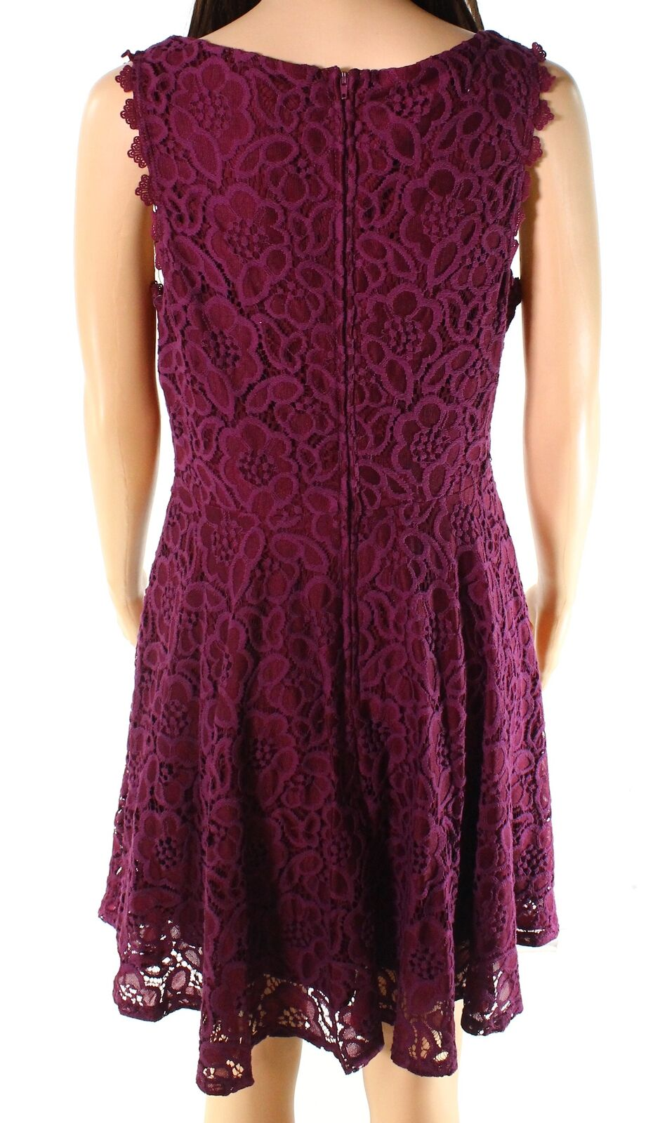 New-City-Triangles-NEW-Red-Plum-Size-9-Junior-A-Line-Floral-Lace-Dress-52-819 thumbnail 2