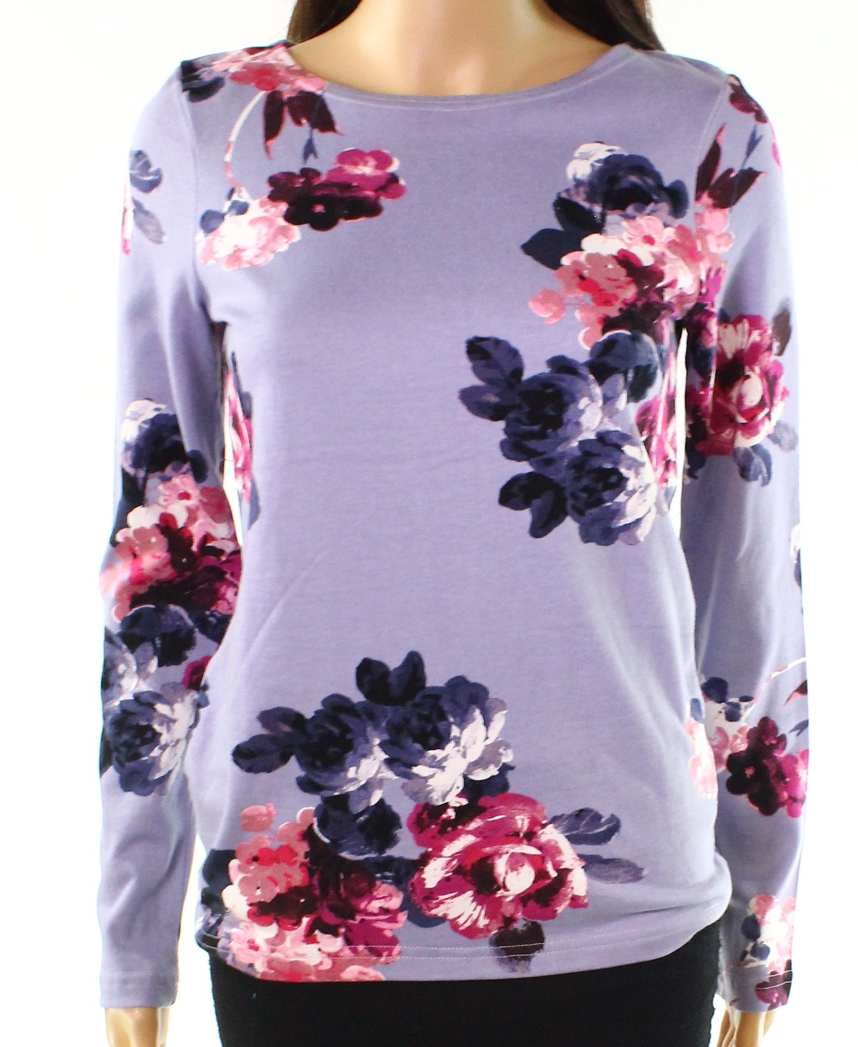 New-Joules-Women-039-s-Blue-Size-6-Floral-Print-Boat-Neck-Stretch-Knit-Top-48-795
