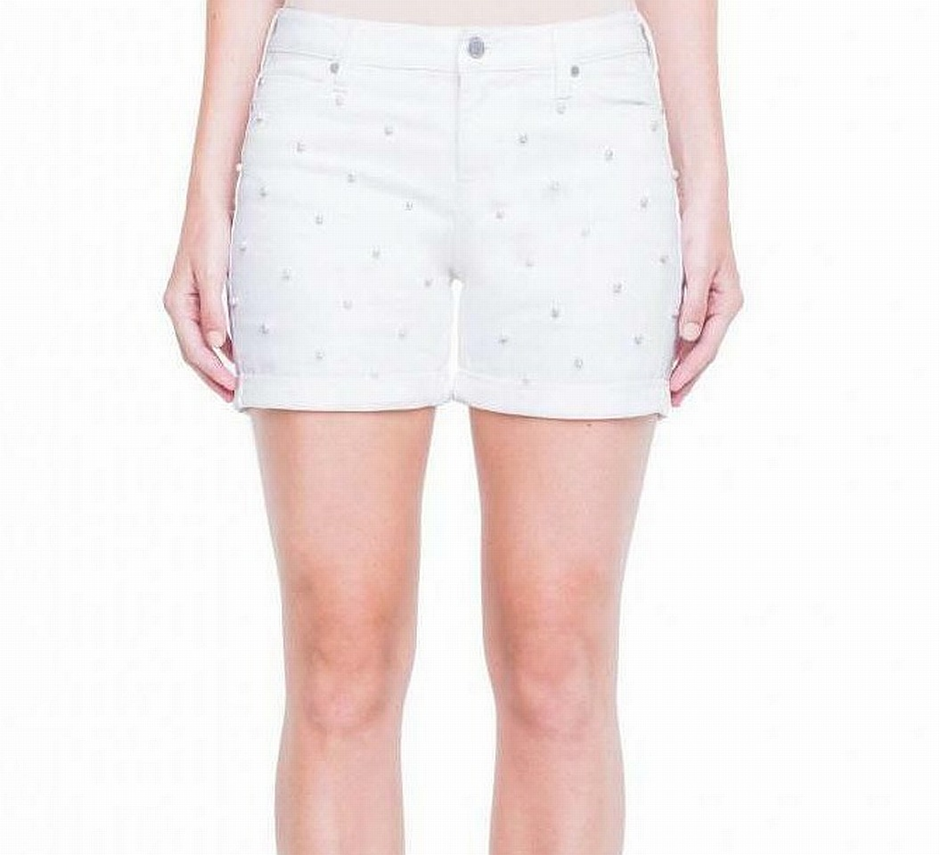 New-Liverpool-Women-039-s-White-Size-16-Faux-Pearls-Embellished-Denim-Shorts-69-980