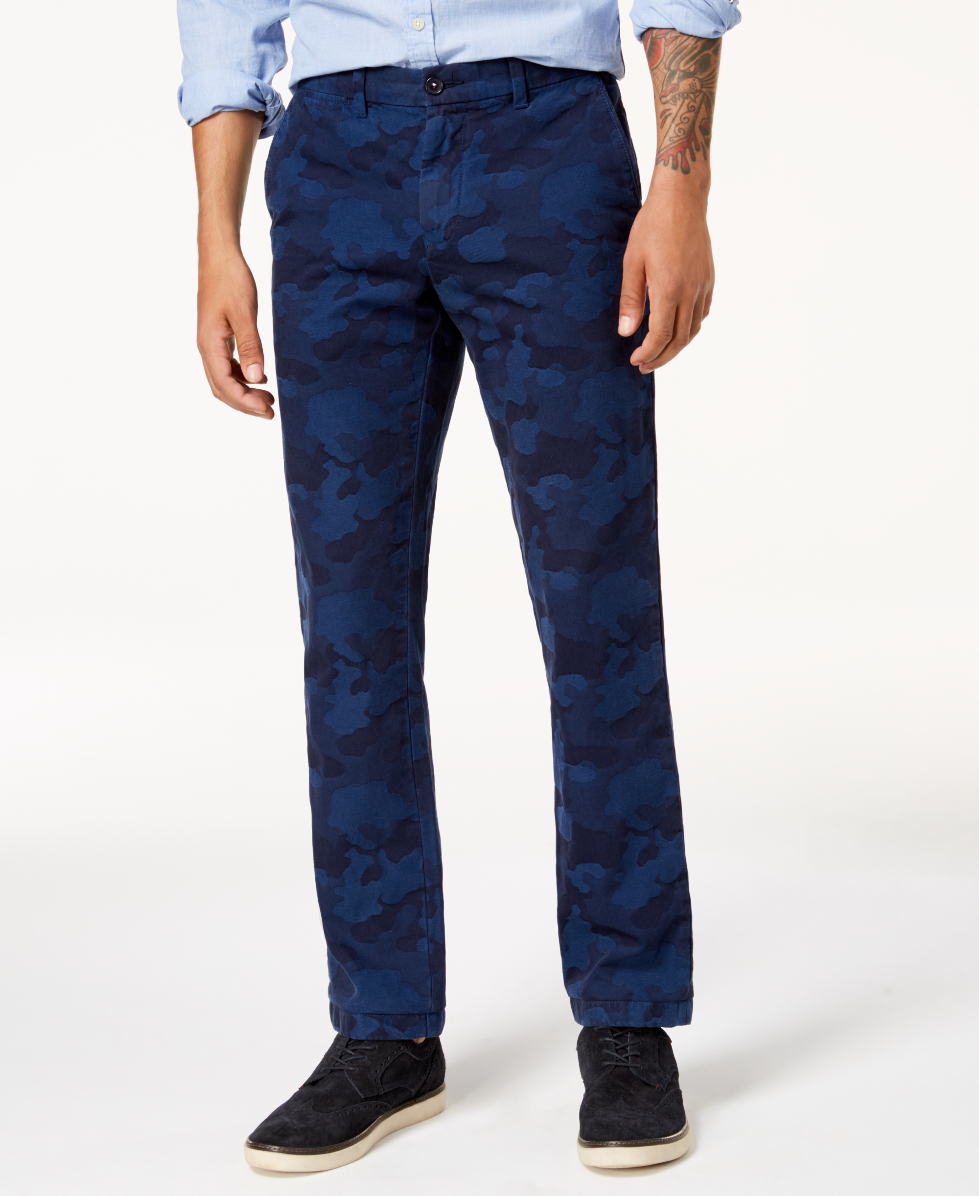 New-Tommy-Hilfiger-NEW-Blue-Mens-Size-33x30-Custom-Fit-Camo-Chinos-Pants-69