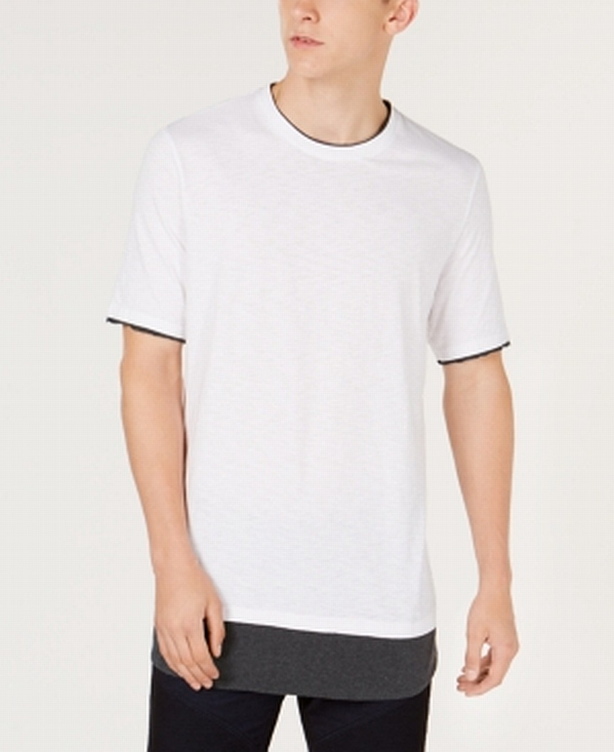INC-NEW-White-Mens-Size-Large-L-Contrast-Layered-Look-Crew-Tee-T-Shirt
